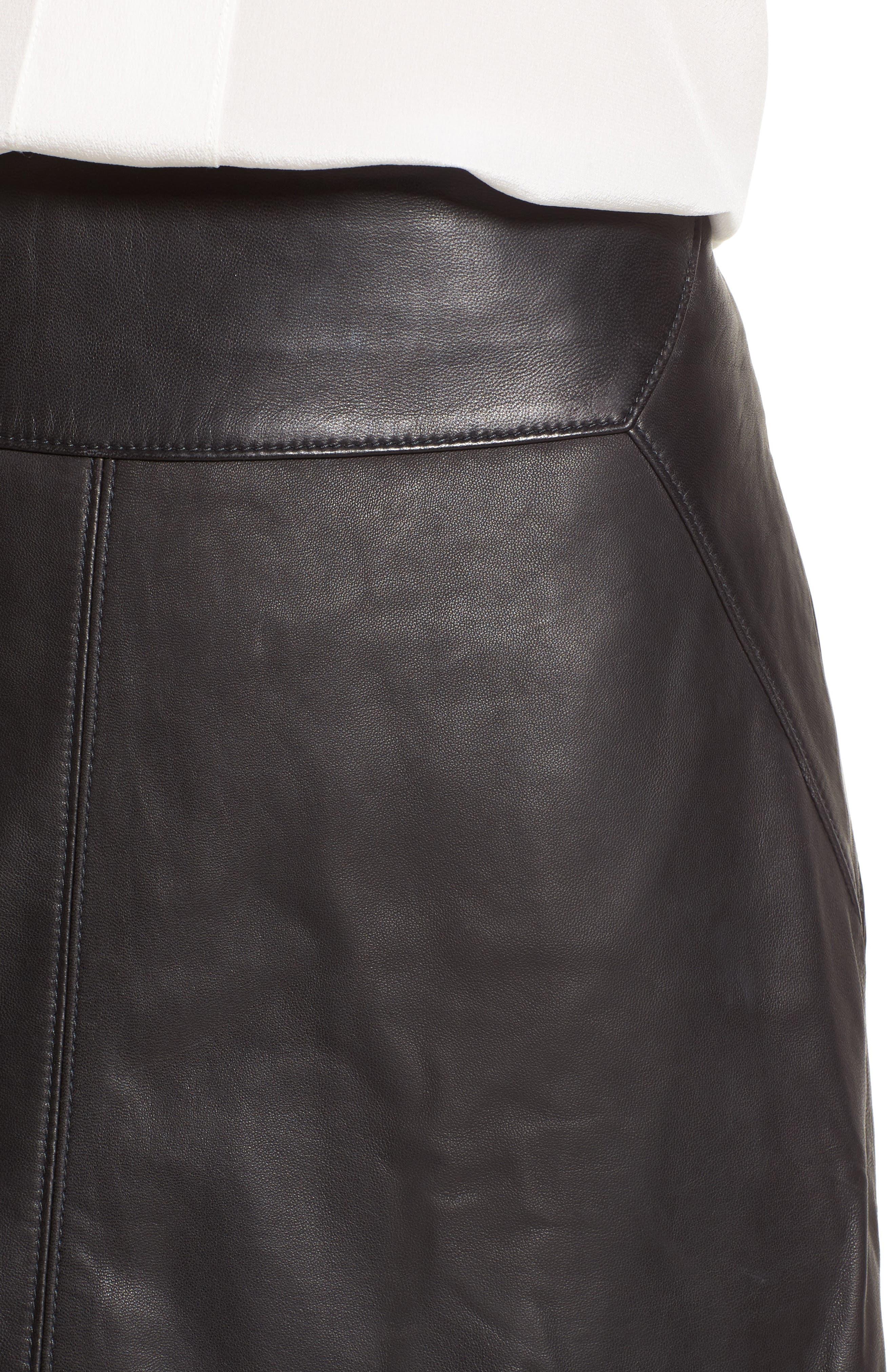 Leather Skirt,                             Alternate thumbnail 5, color,                             Black