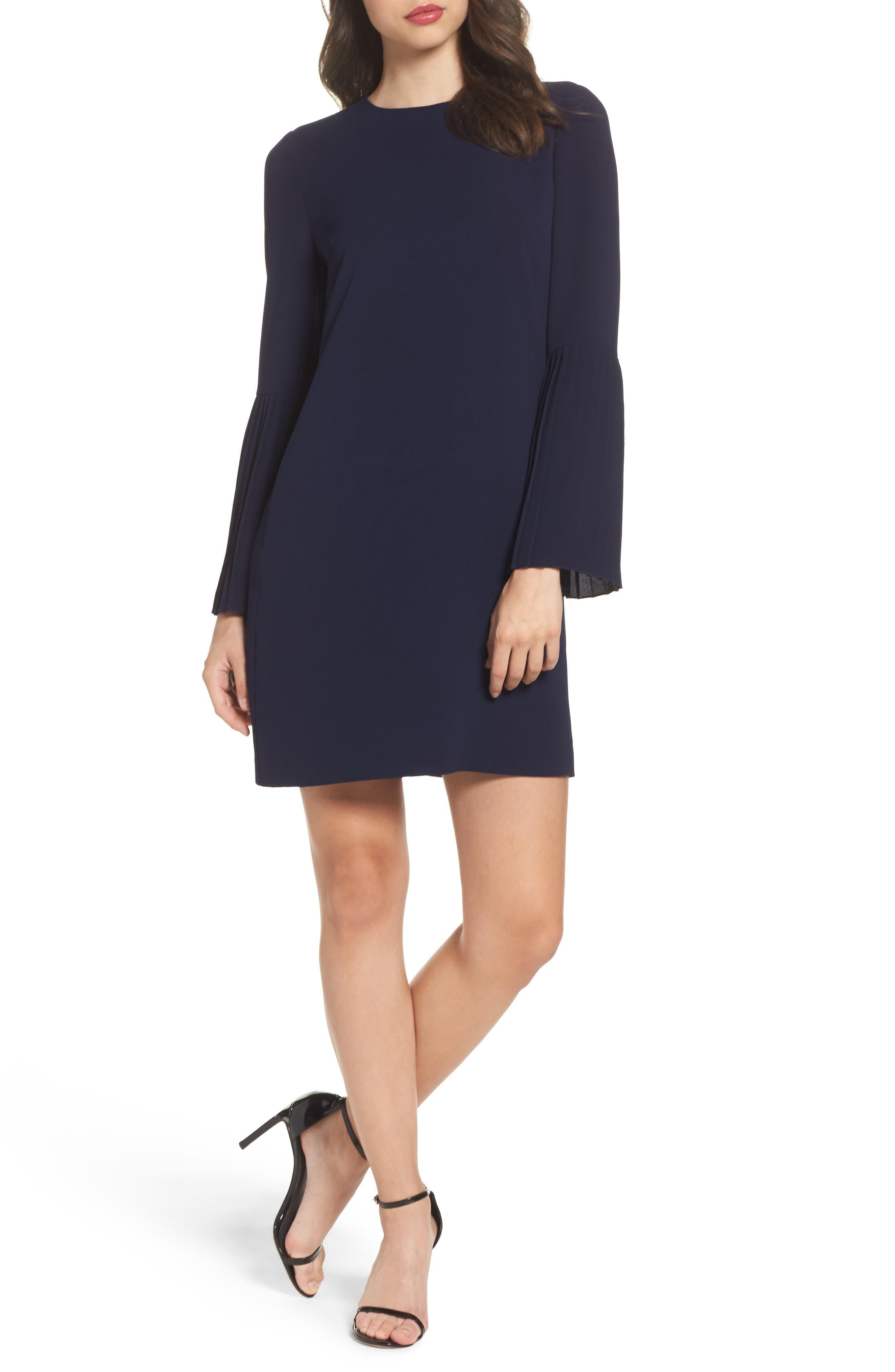Bell Sleeve Shift Dress,                             Main thumbnail 1, color,                             Galaxy Blue