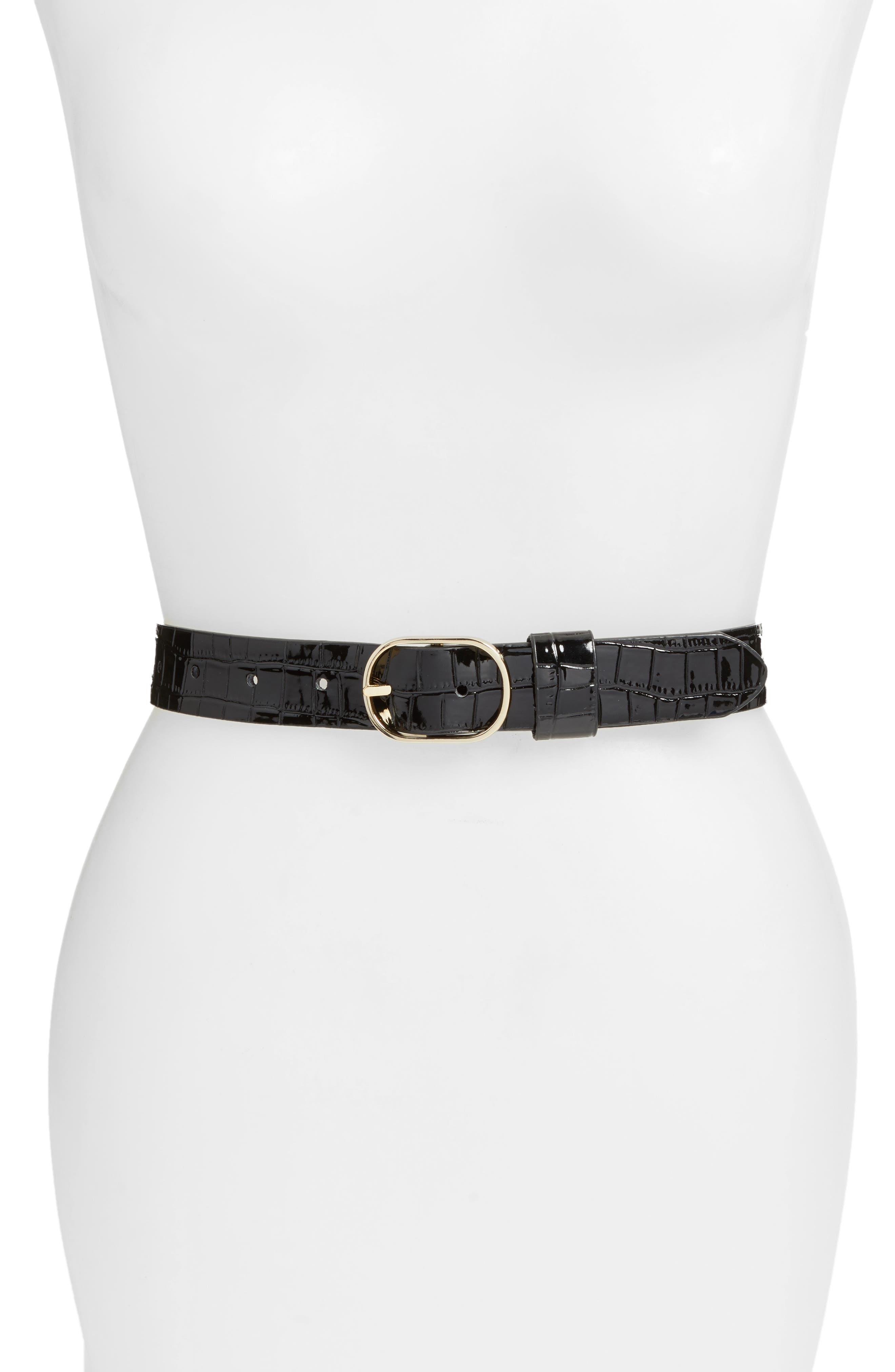 Halogen® Croc Embossed Faux Leather Belt