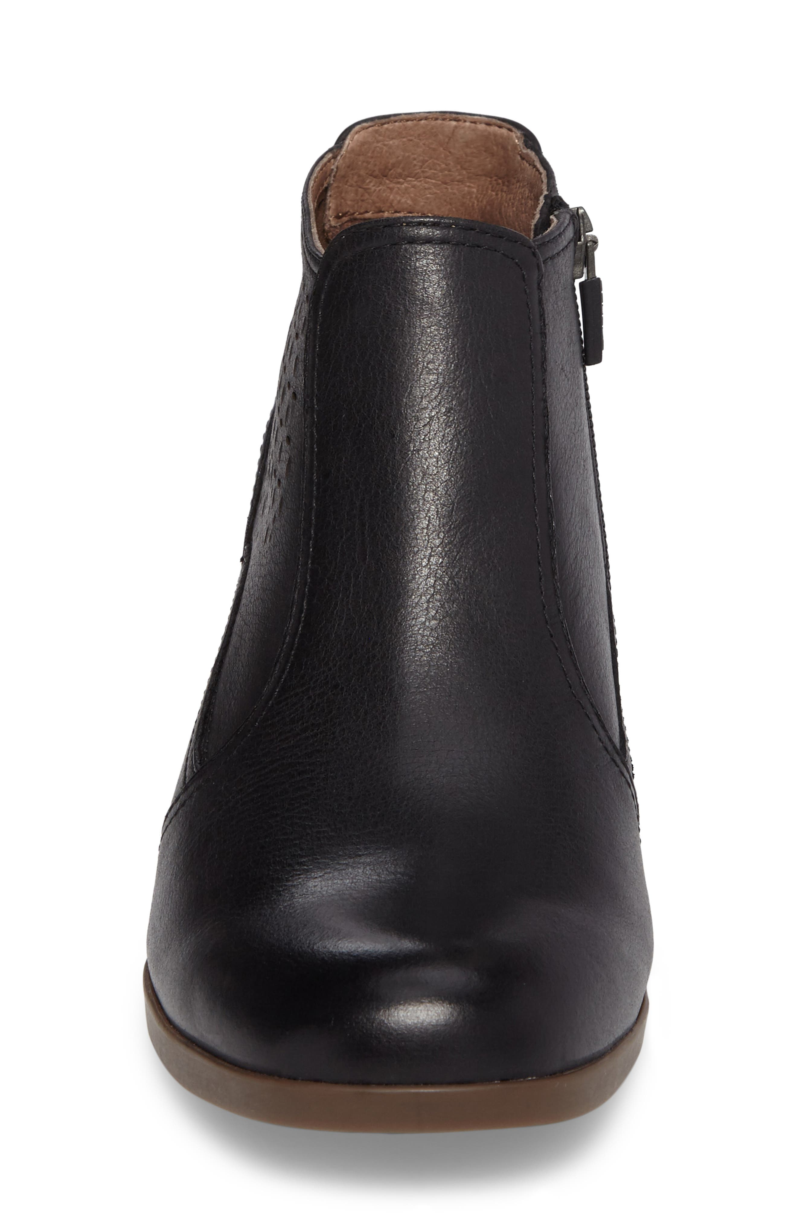 Liberty Laser Cut Bootie,                             Alternate thumbnail 5, color,                             Black Burnished Nappa Leather