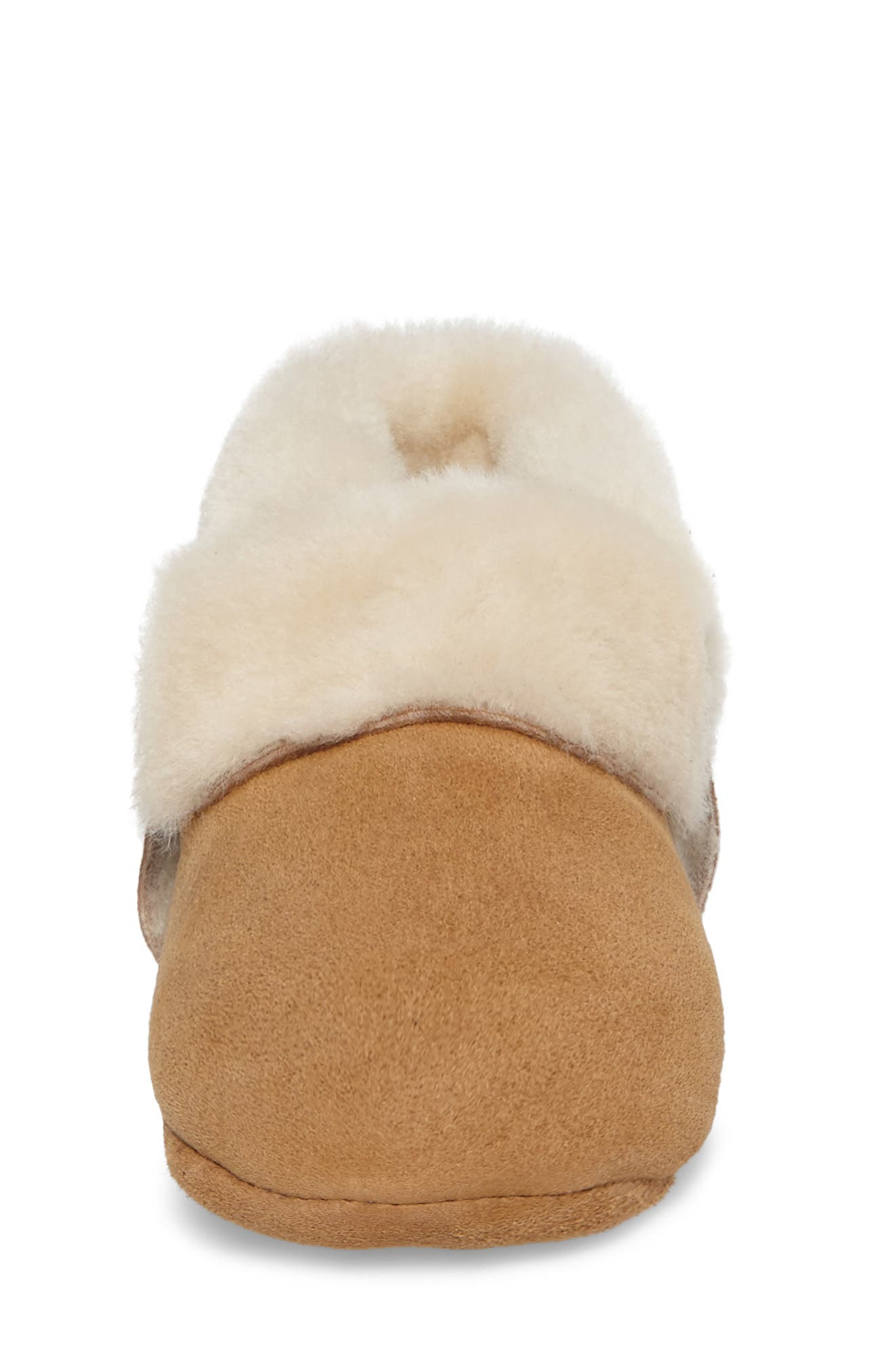 Solvi Genuine Shearling Low Cuffed Bootie,                             Alternate thumbnail 4, color,                             Chestnut