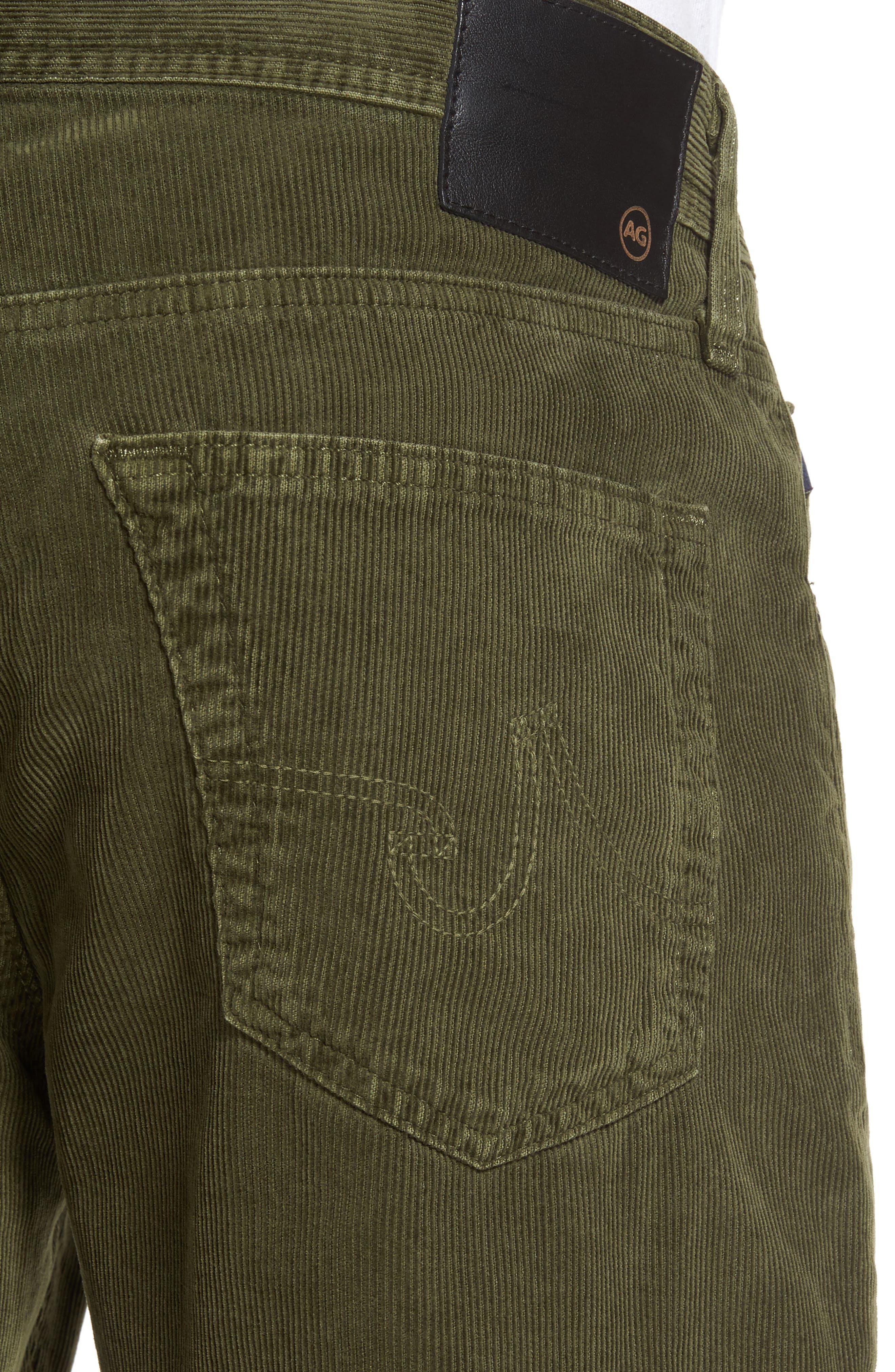 'Graduate' Tailored Straight Leg Corduroy Pants,                             Alternate thumbnail 4, color,                             Sulfur Climbing Ivy