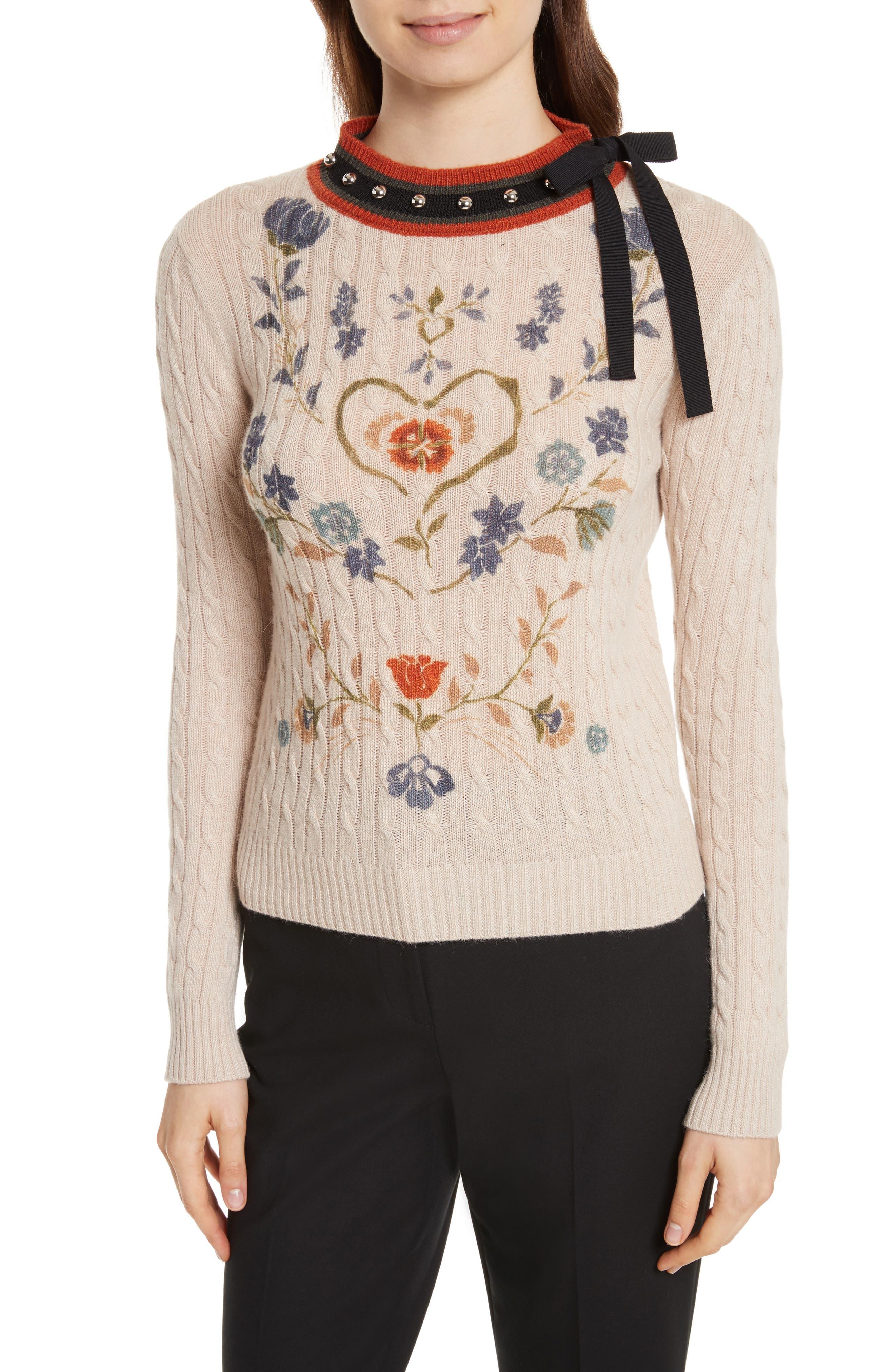 Printed Wool & Angora Blend Sweater,                         Main,                         color, Deserto Chiaro