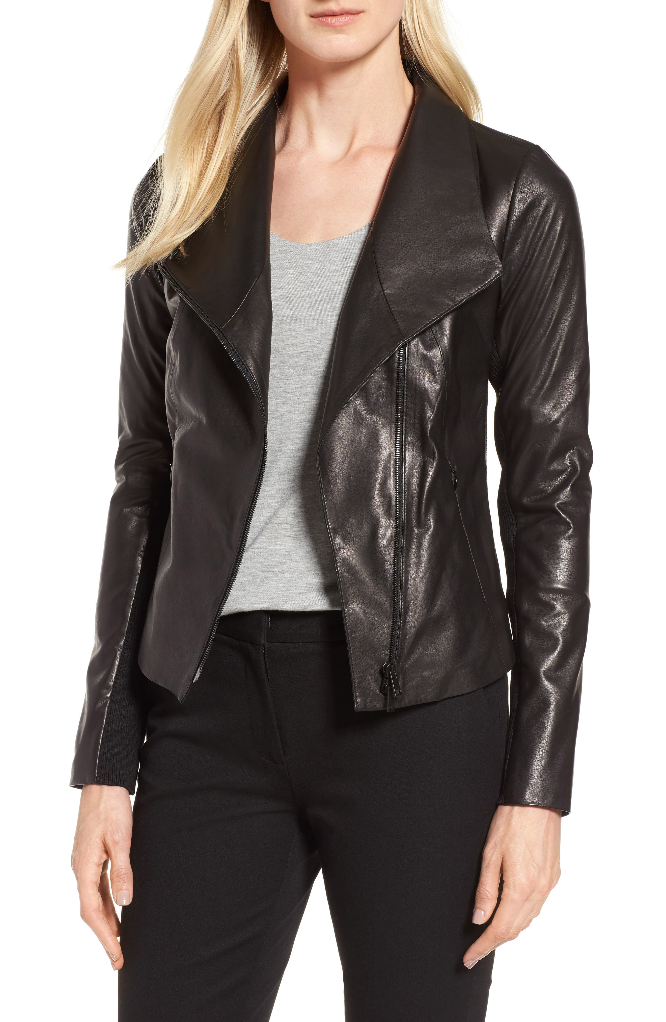 Stand Collar Leather Jacket,                         Main,                         color, Black