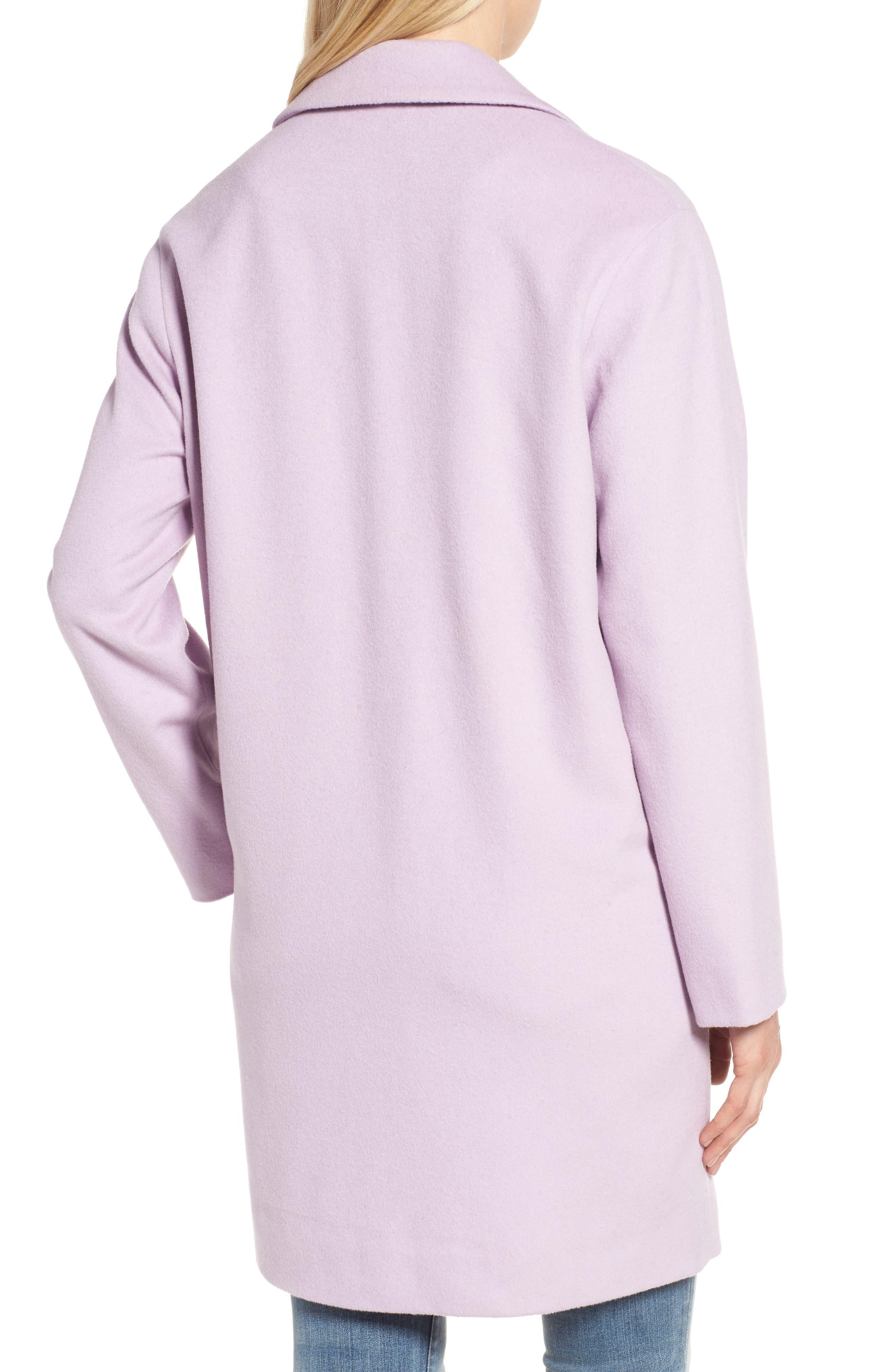 Wool Blend Coat,                             Alternate thumbnail 3, color,                             Icy Lavendar