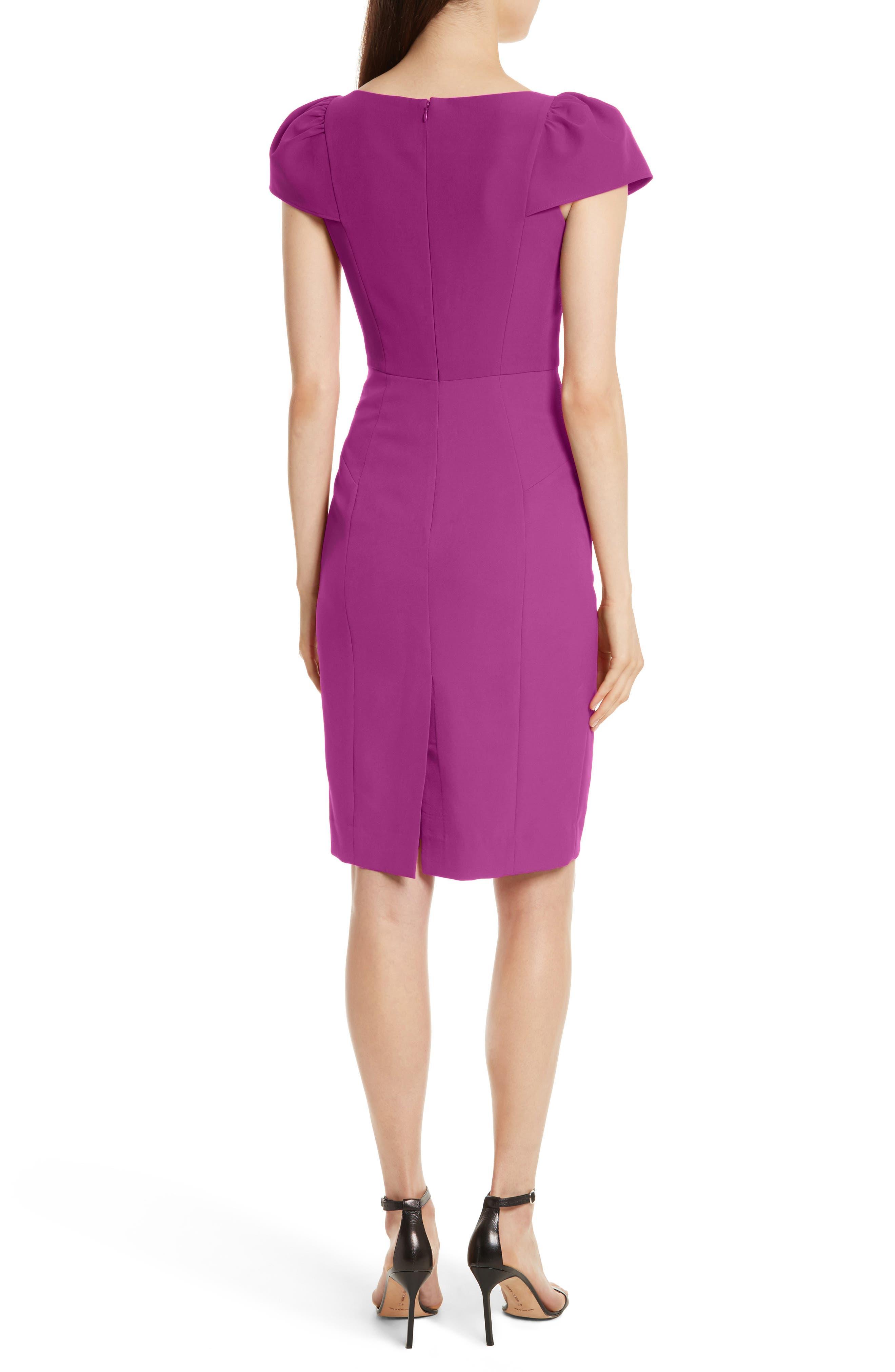 Italian Cady Gathered Sleeve Sheath Dress,                             Alternate thumbnail 2, color,                             Berry