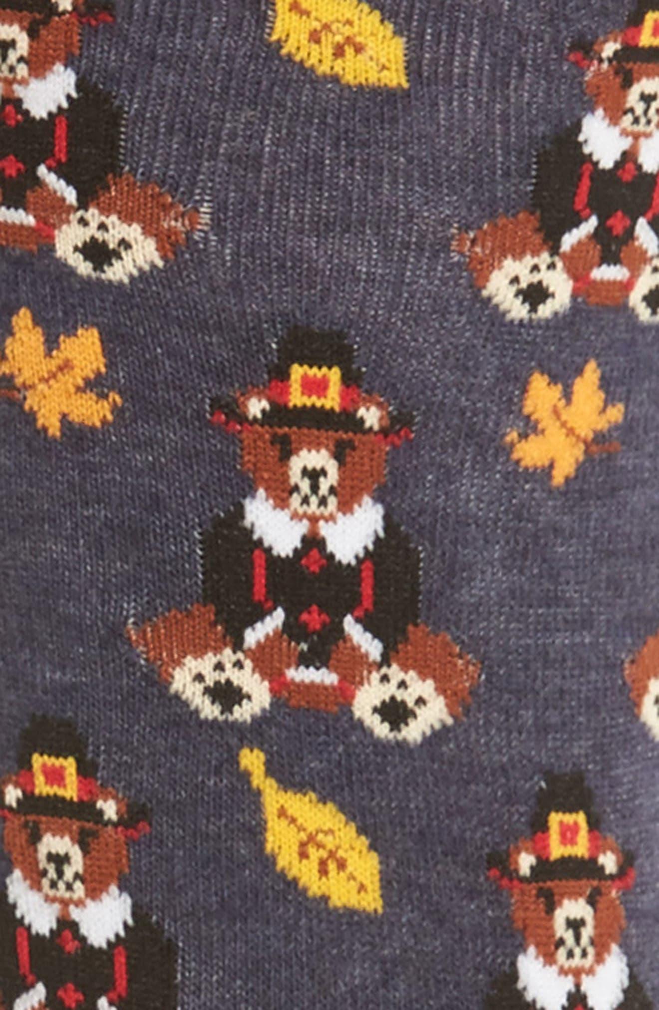 Pilgrim Bears Crew Socks,                             Alternate thumbnail 2, color,                             Denim Heather