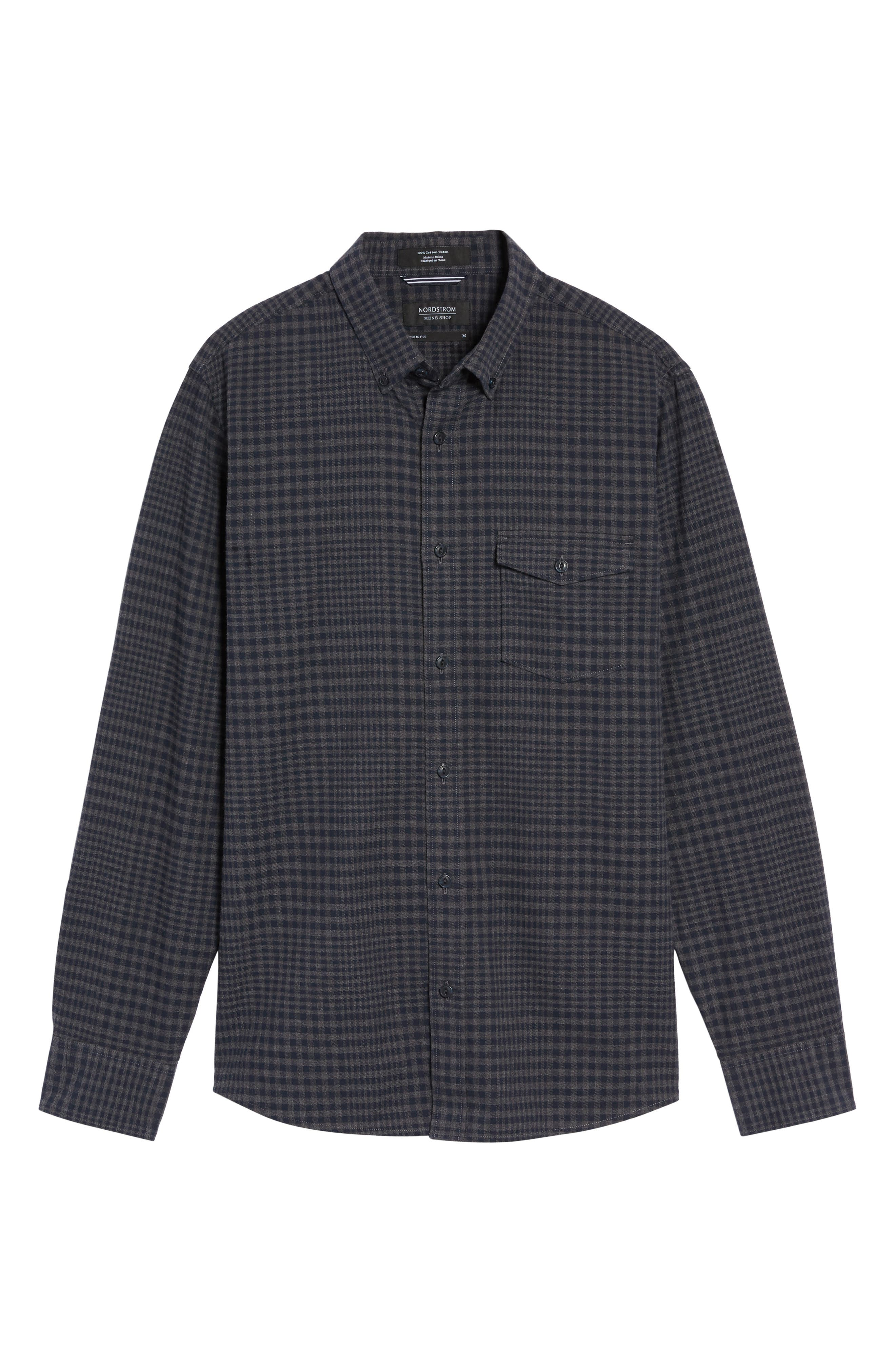 Alternate Image 6  - Nordstrom Men's Shop Slim Fit Washed Glen Plaid Sport Shirt