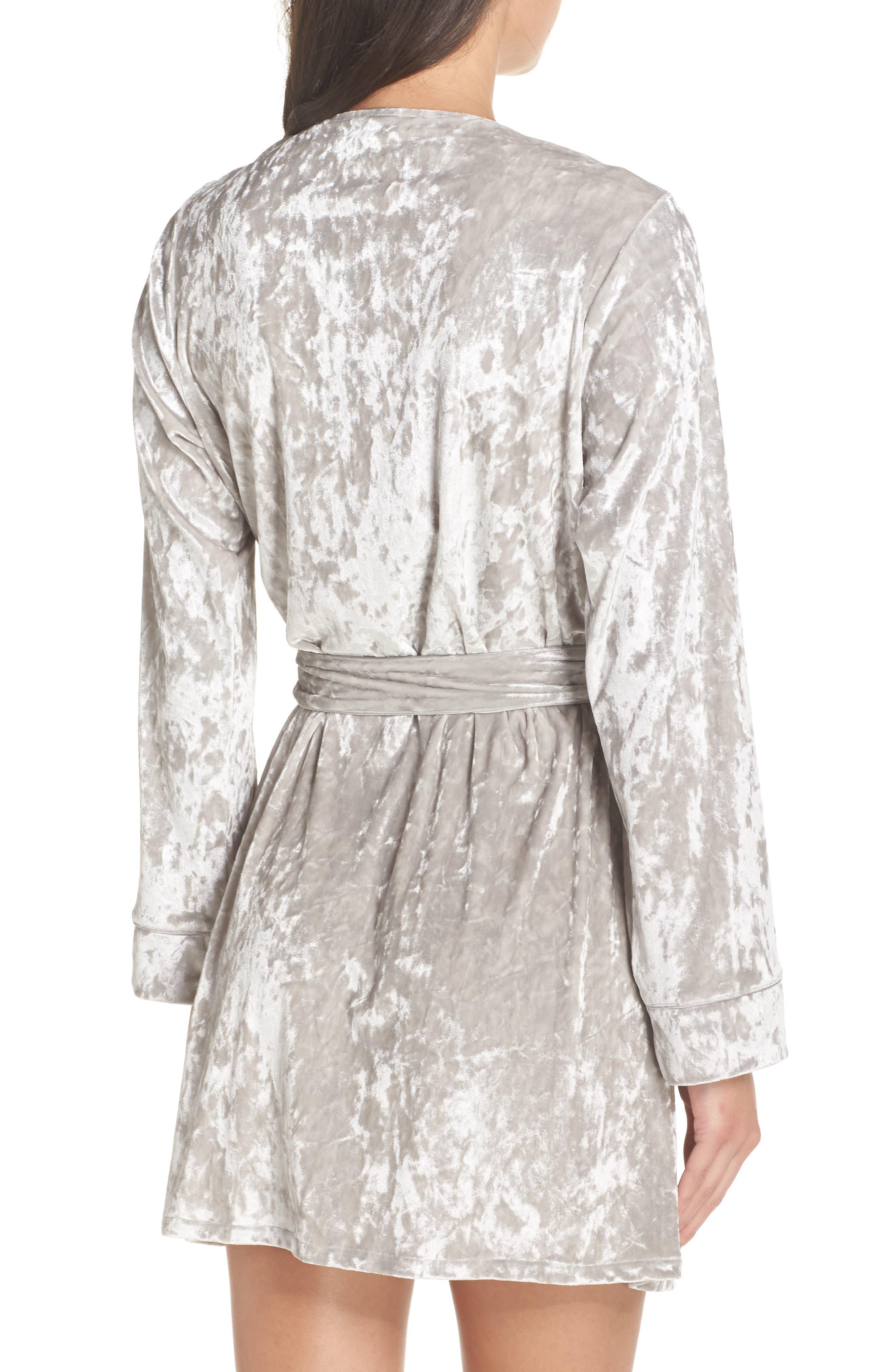 Crushed Velvet Short Robe,                             Alternate thumbnail 2, color,                             Grey Vapor