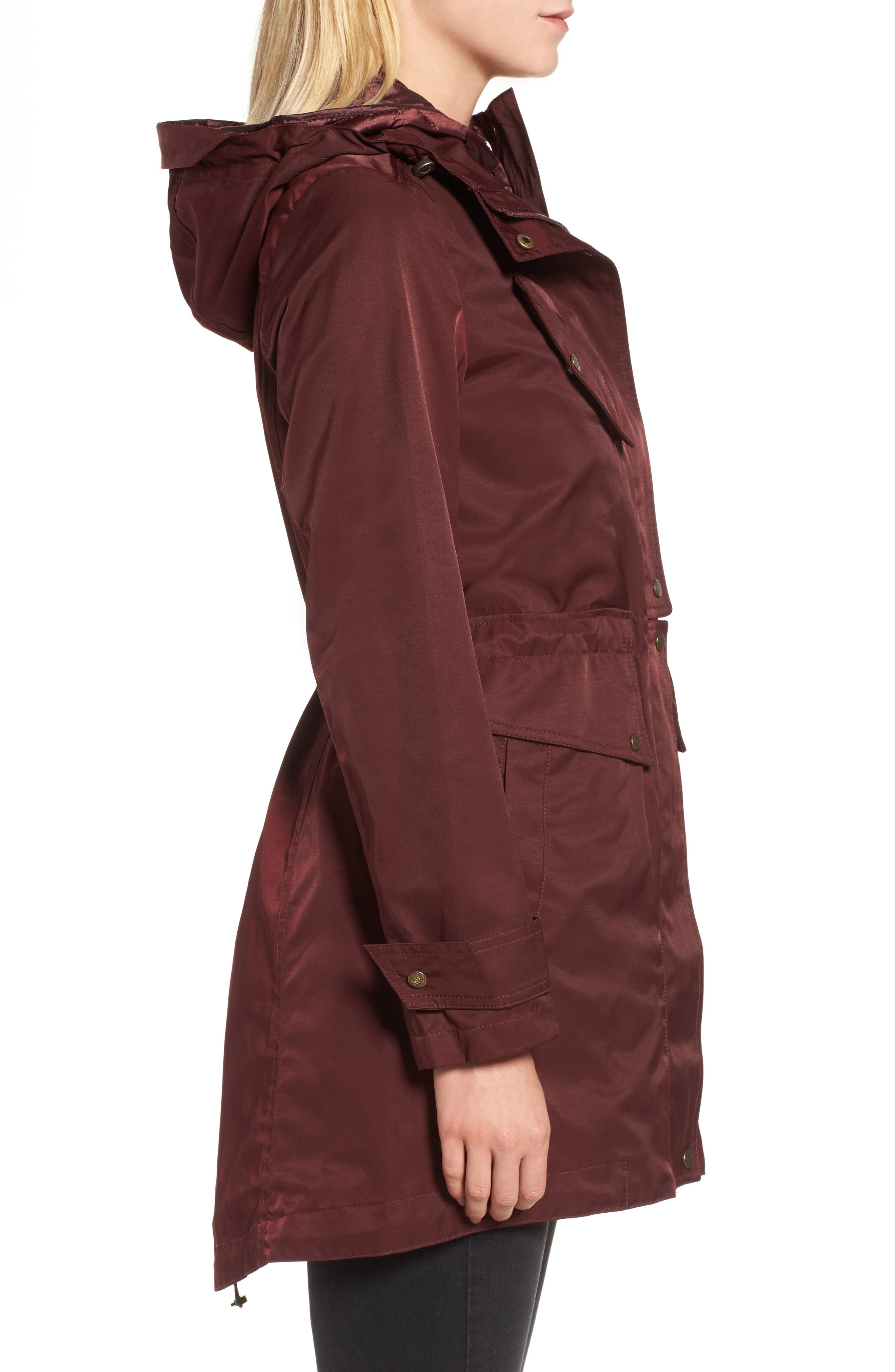Parka with Detachable Bib Insert,                             Alternate thumbnail 3, color,                             Burgundy