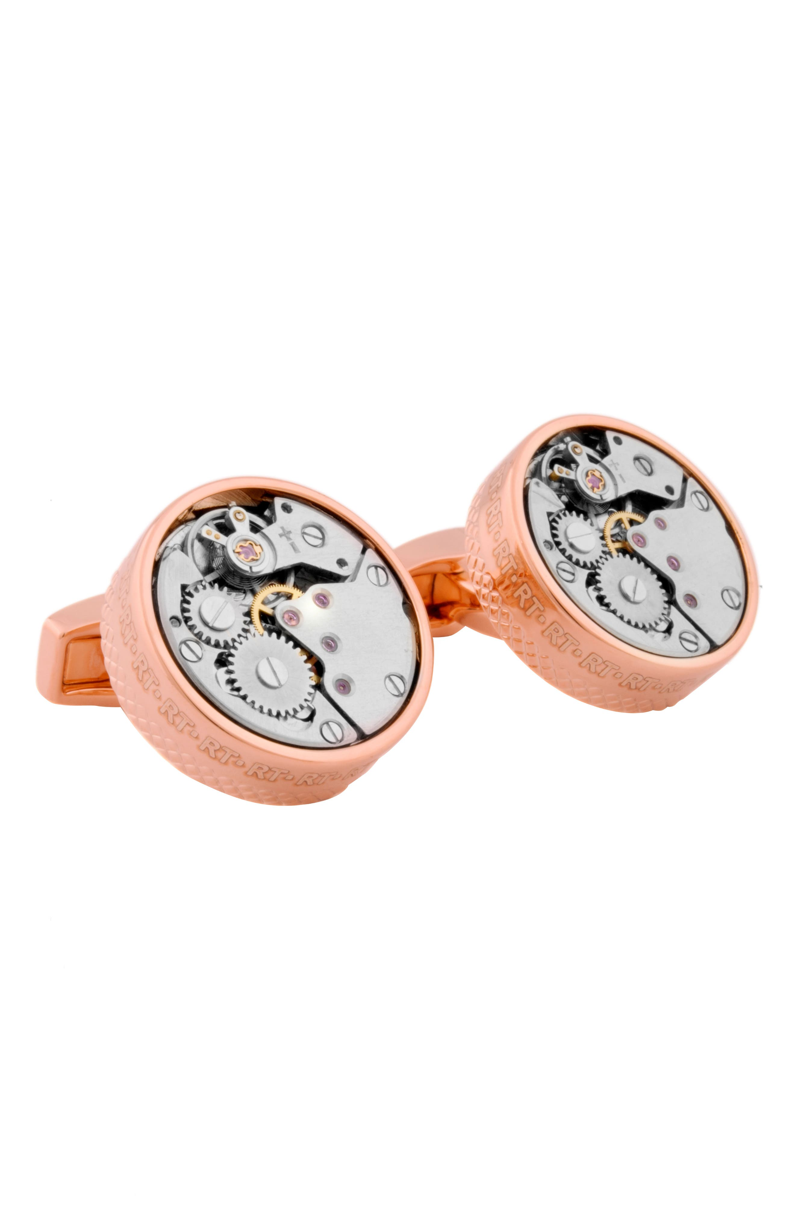 Skeleton Movement Cuff Links,                         Main,                         color, Rose Gold