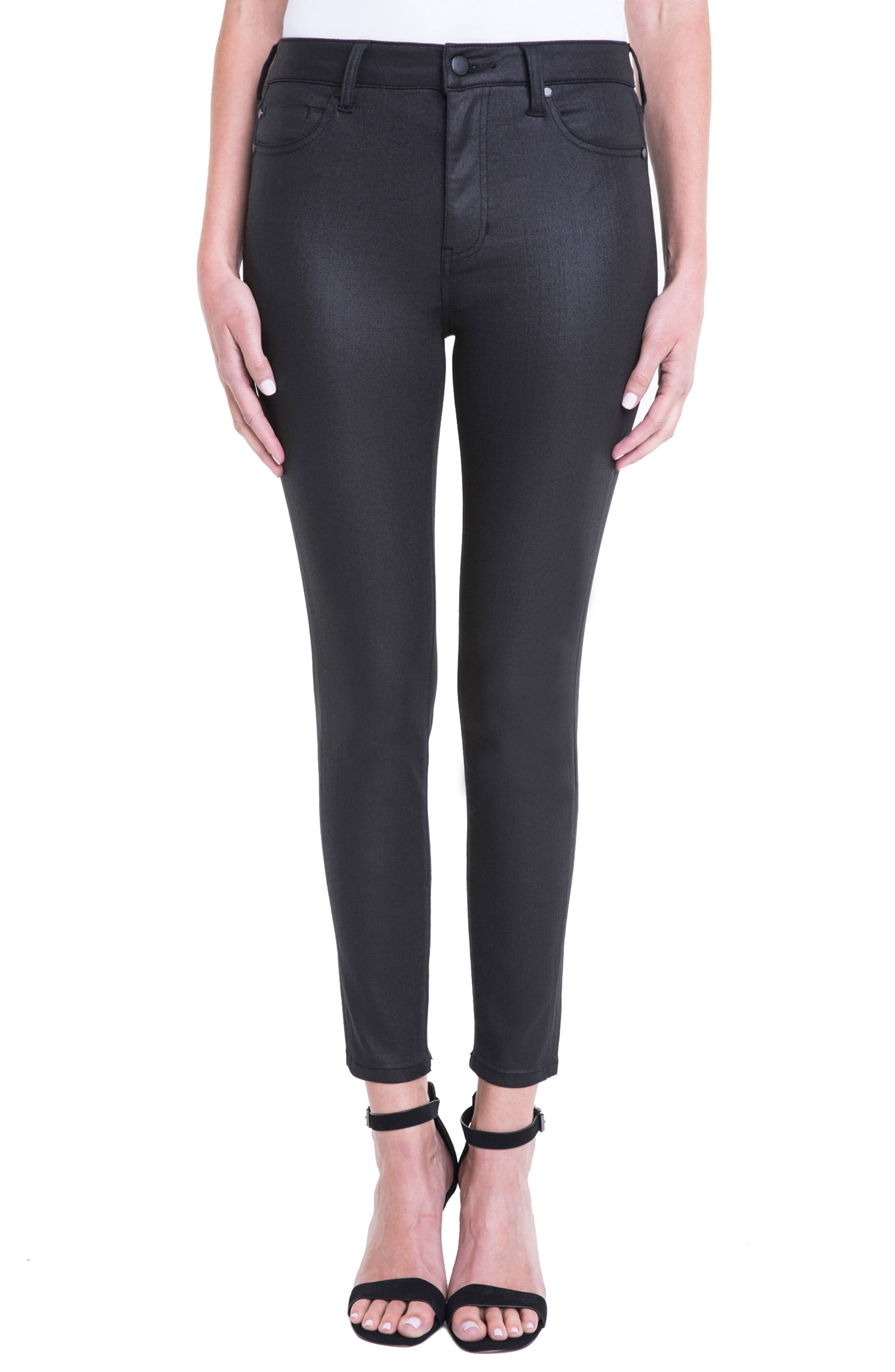 Bridget Coated High Waist Skinny Jeans,                         Main,                         color, Black