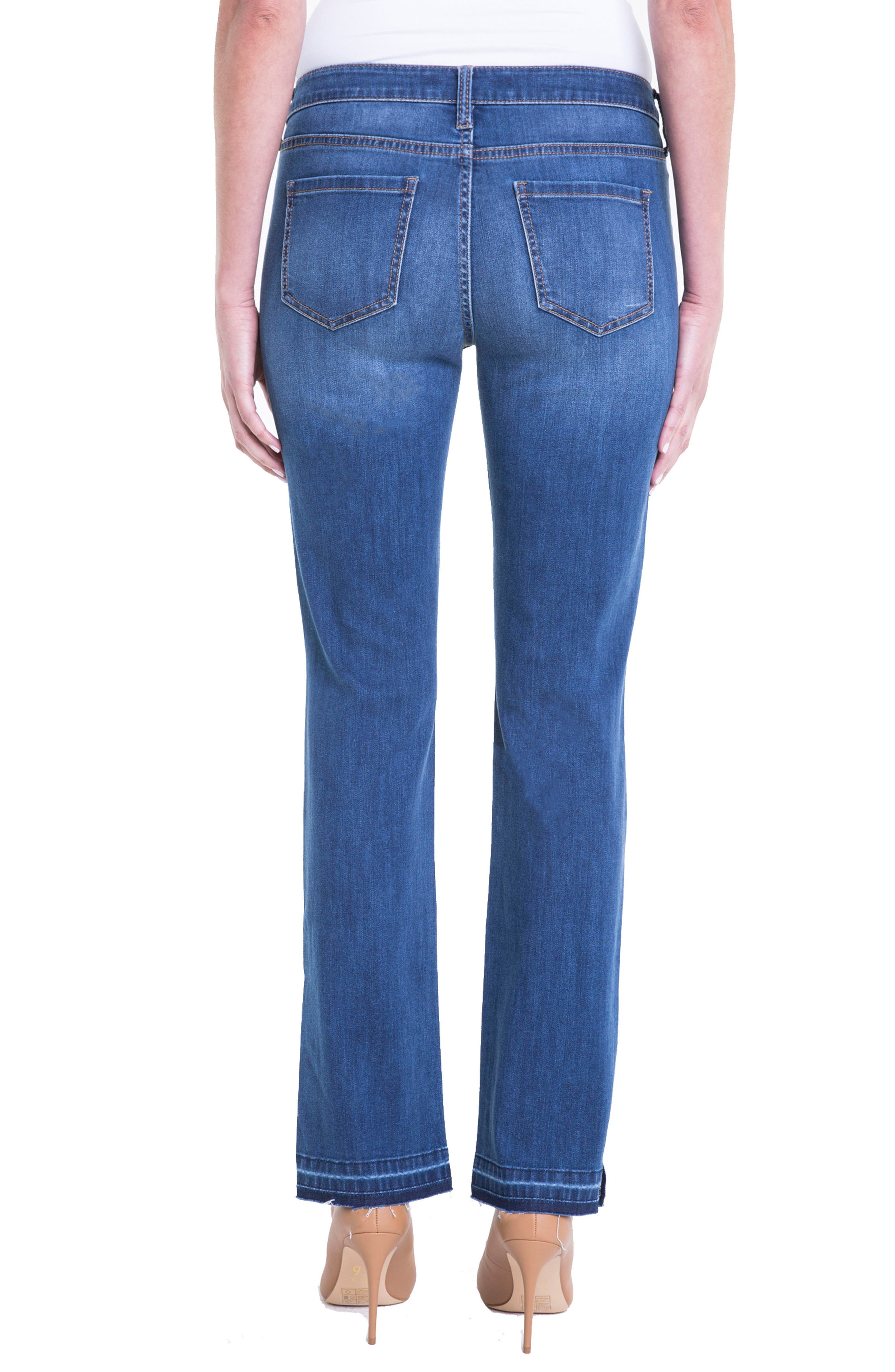 Alternate Image 2  - Liverpool Jeans Company Tabitha Release Hem Straight Leg Jeans (Montauck Mid)