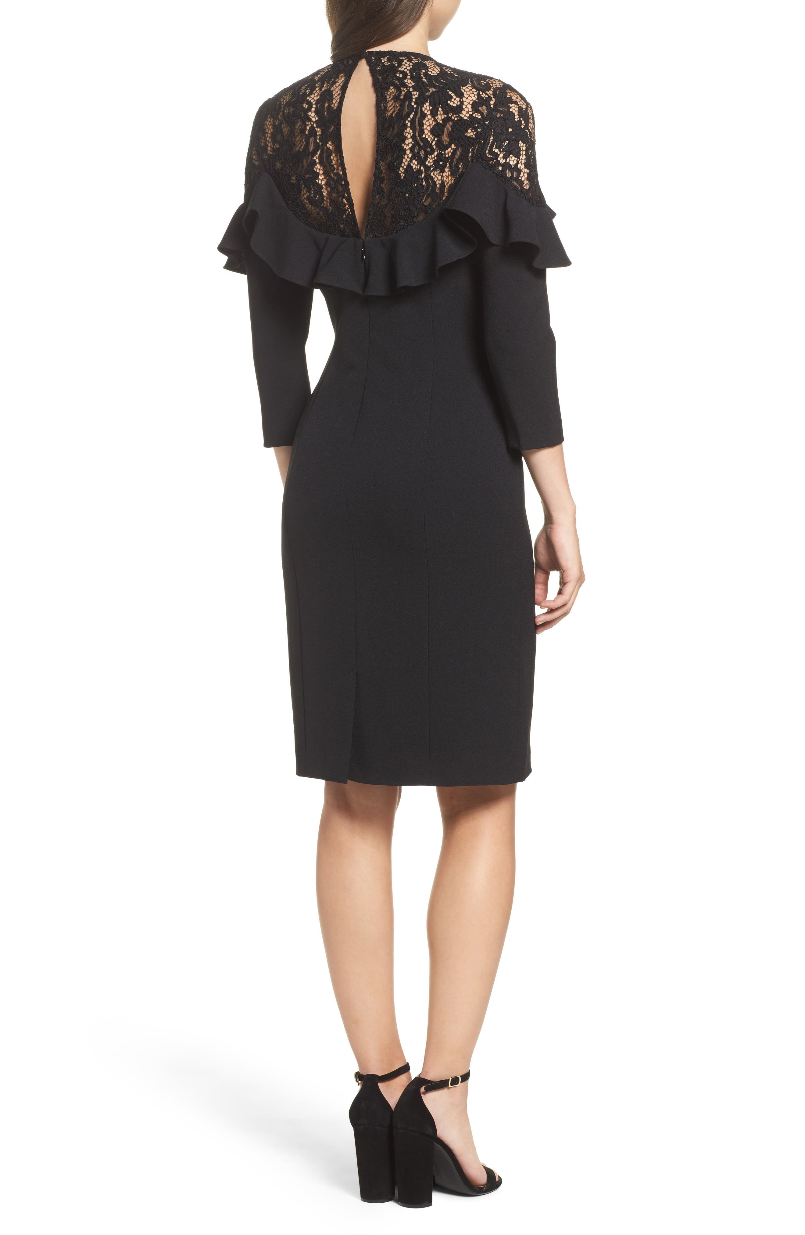 Alternate Image 2  - Eliza J Lace Yoke Sheath Dress