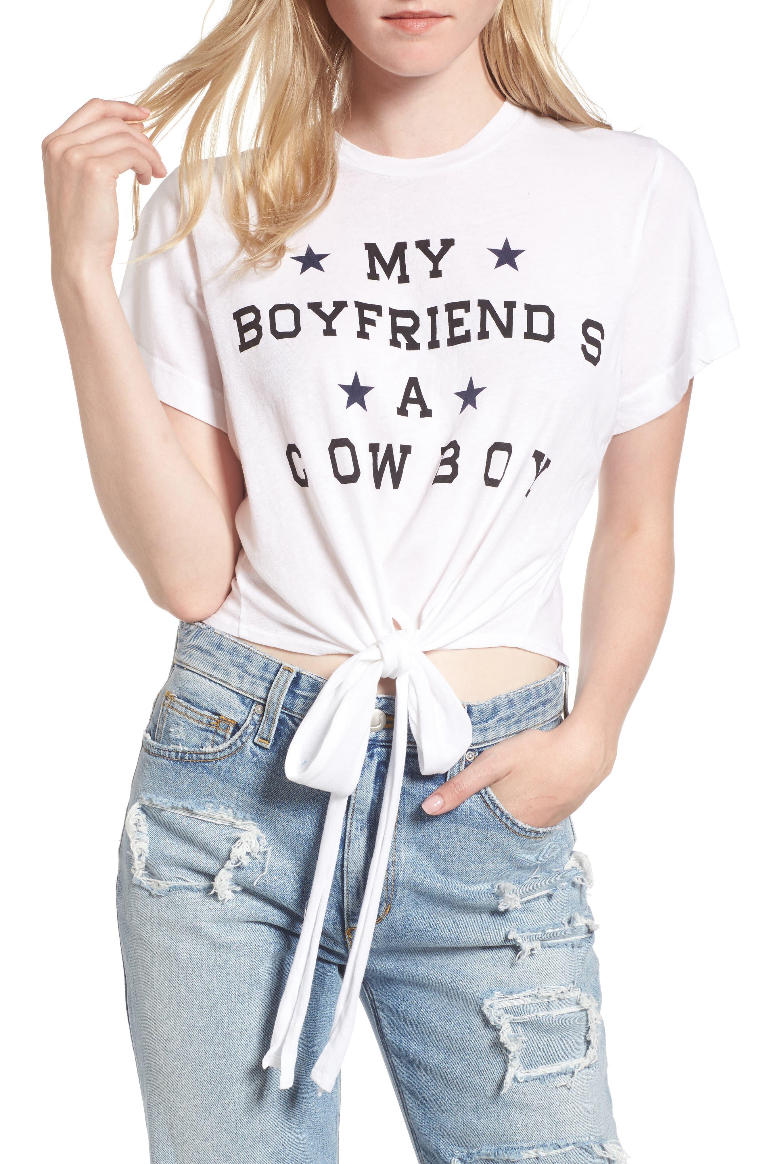 My Boyfriend Is a Cowboy Tee,                         Main,                         color, Cowboy White