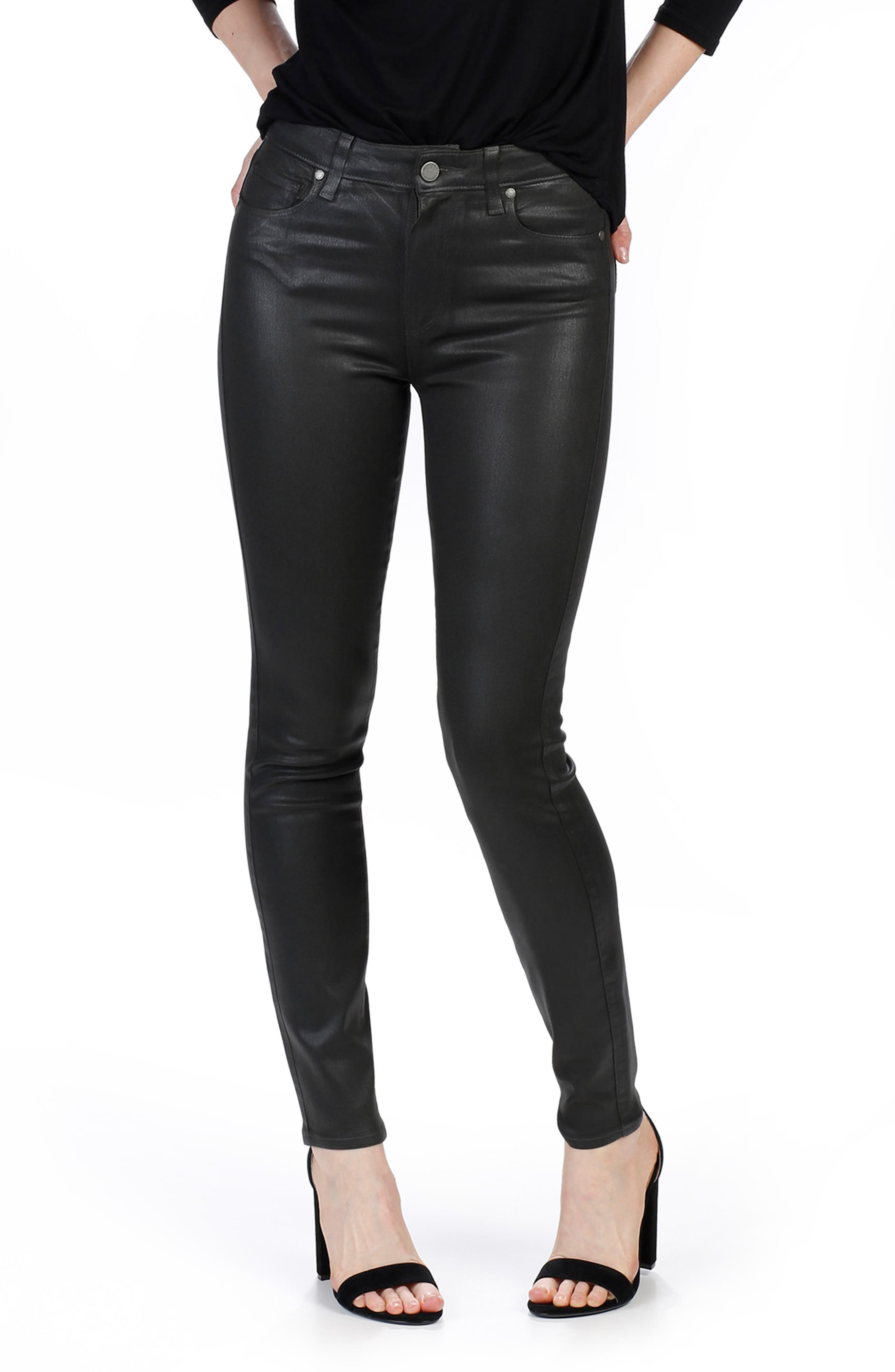 Transcend - Hoxton Coated High Waist Ankle Skinny Jeans,                         Main,                         color, Deep Juniper Luxe Coating