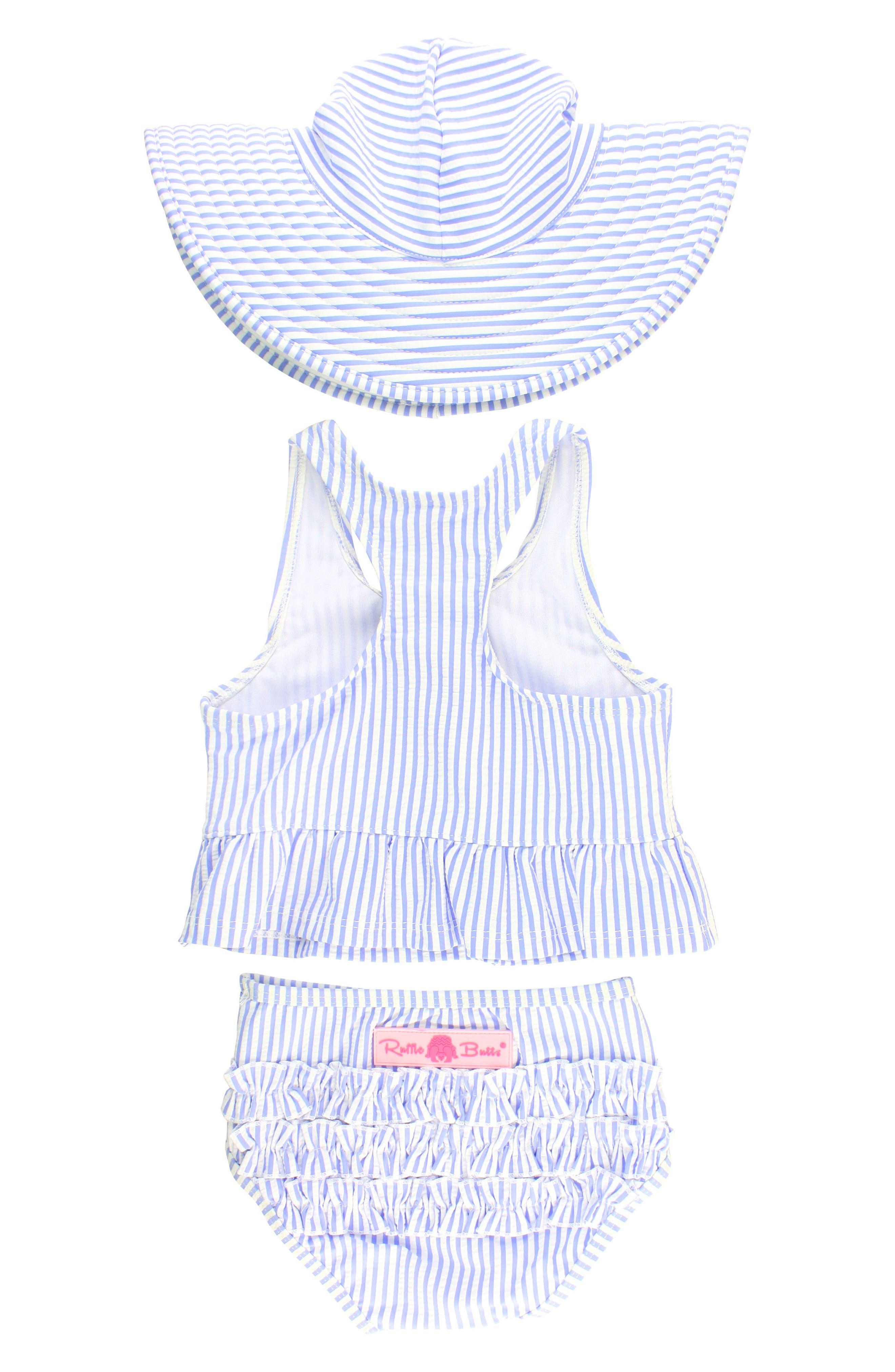 Two-Piece Swimsuit & Hat Set,                             Alternate thumbnail 2, color,                             Blue