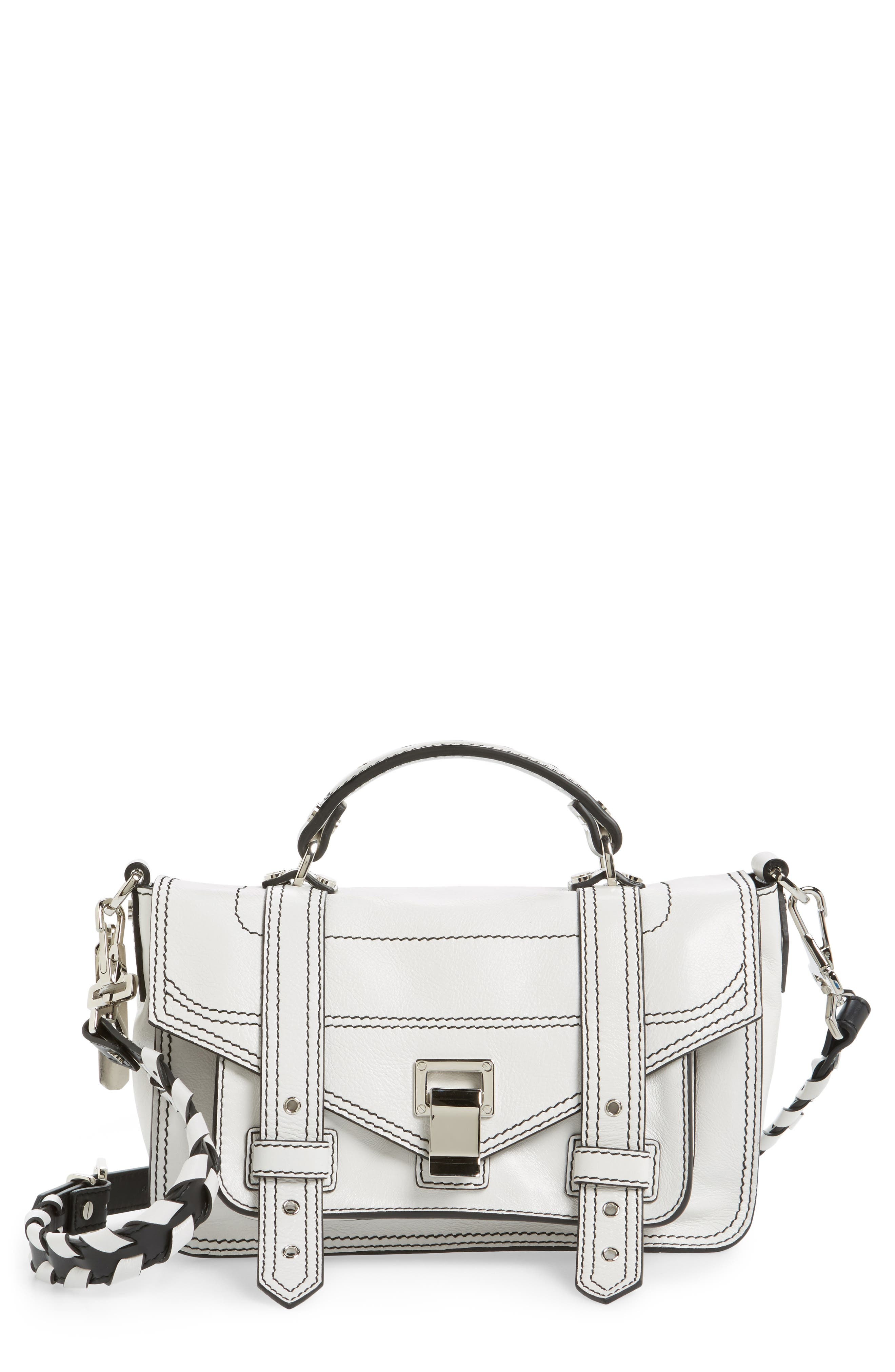 Tiny PS1 Calfskin Leather Satchel with Novelty Shoulder/Crossbody Strap,                             Main thumbnail 1, color,                             Optic White