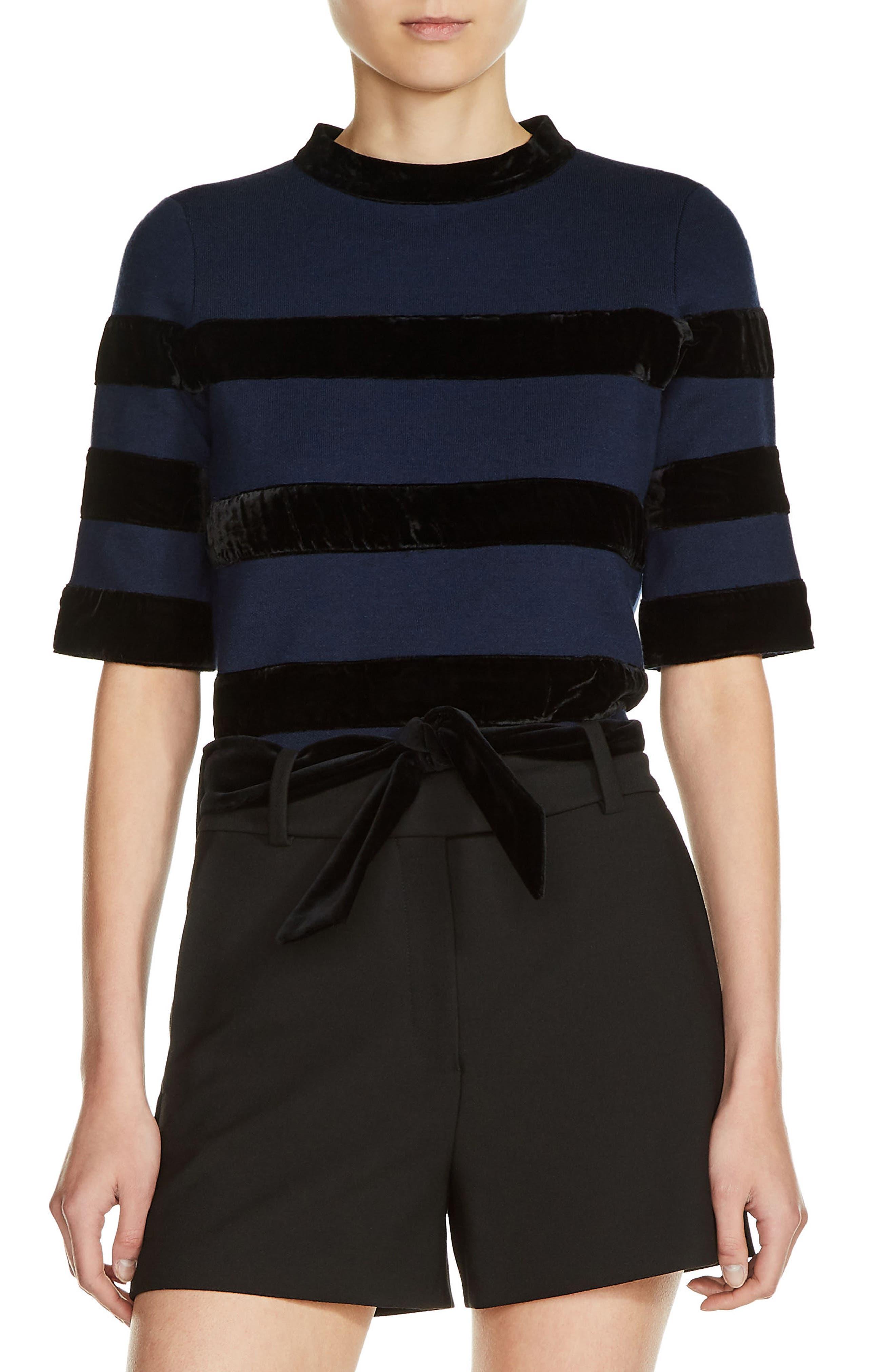 Velvet Stripe Milano Knit Crop Top,                         Main,                         color, Navy
