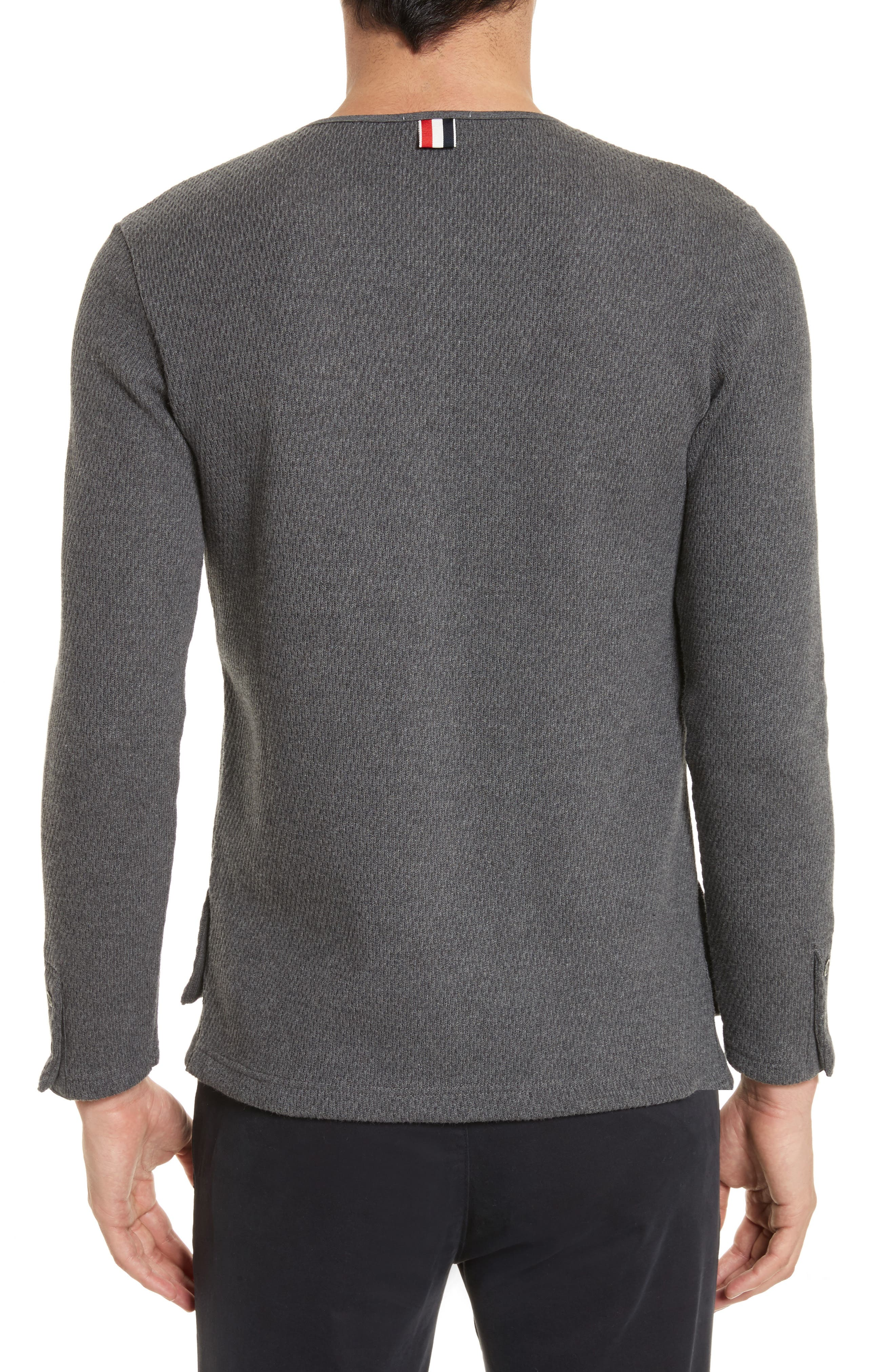 Knit Cotton Henley,                             Alternate thumbnail 2, color,                             Dark Grey