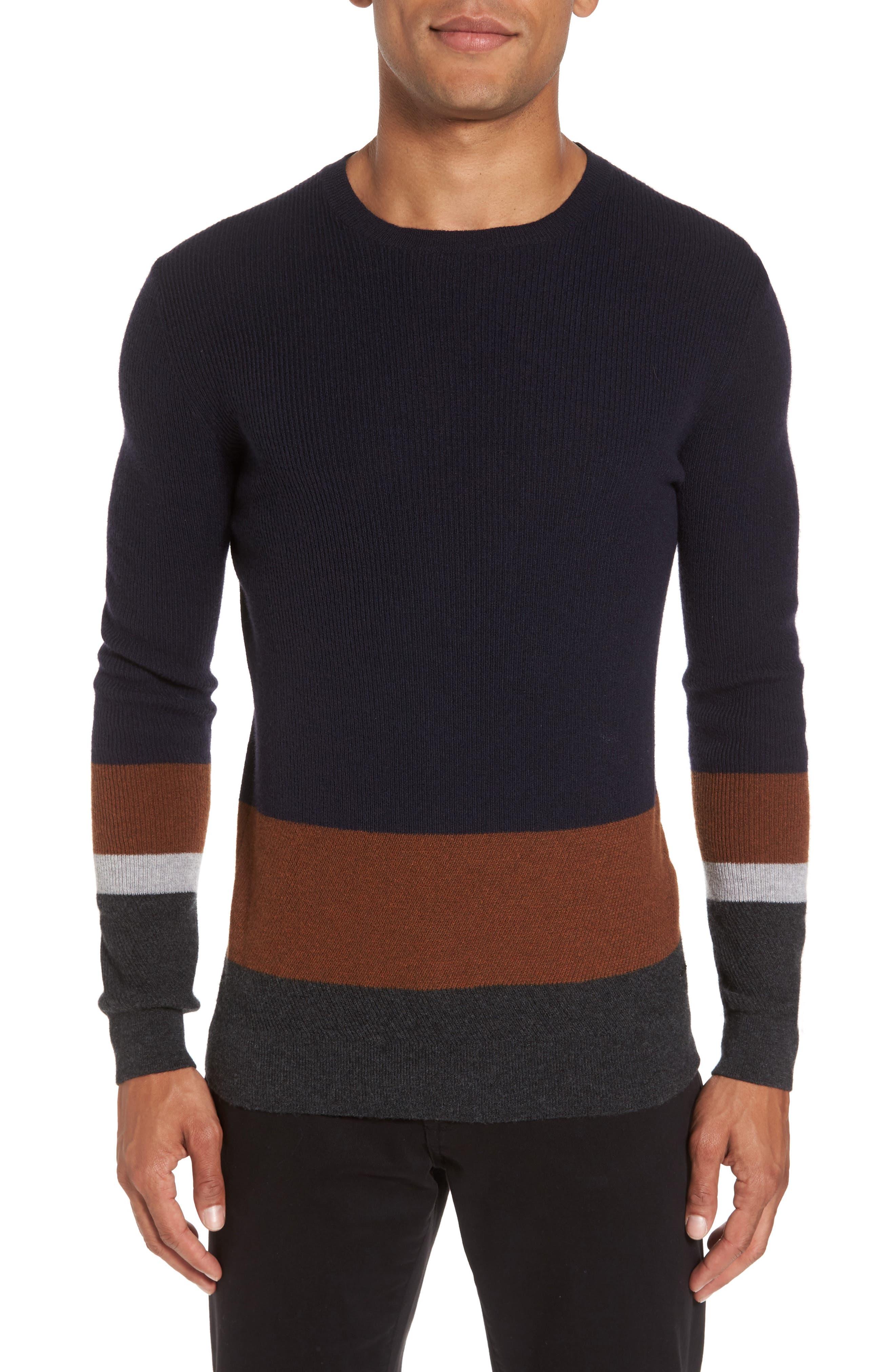 Colorblock Crewneck Sweater,                             Main thumbnail 1, color,                             Navy