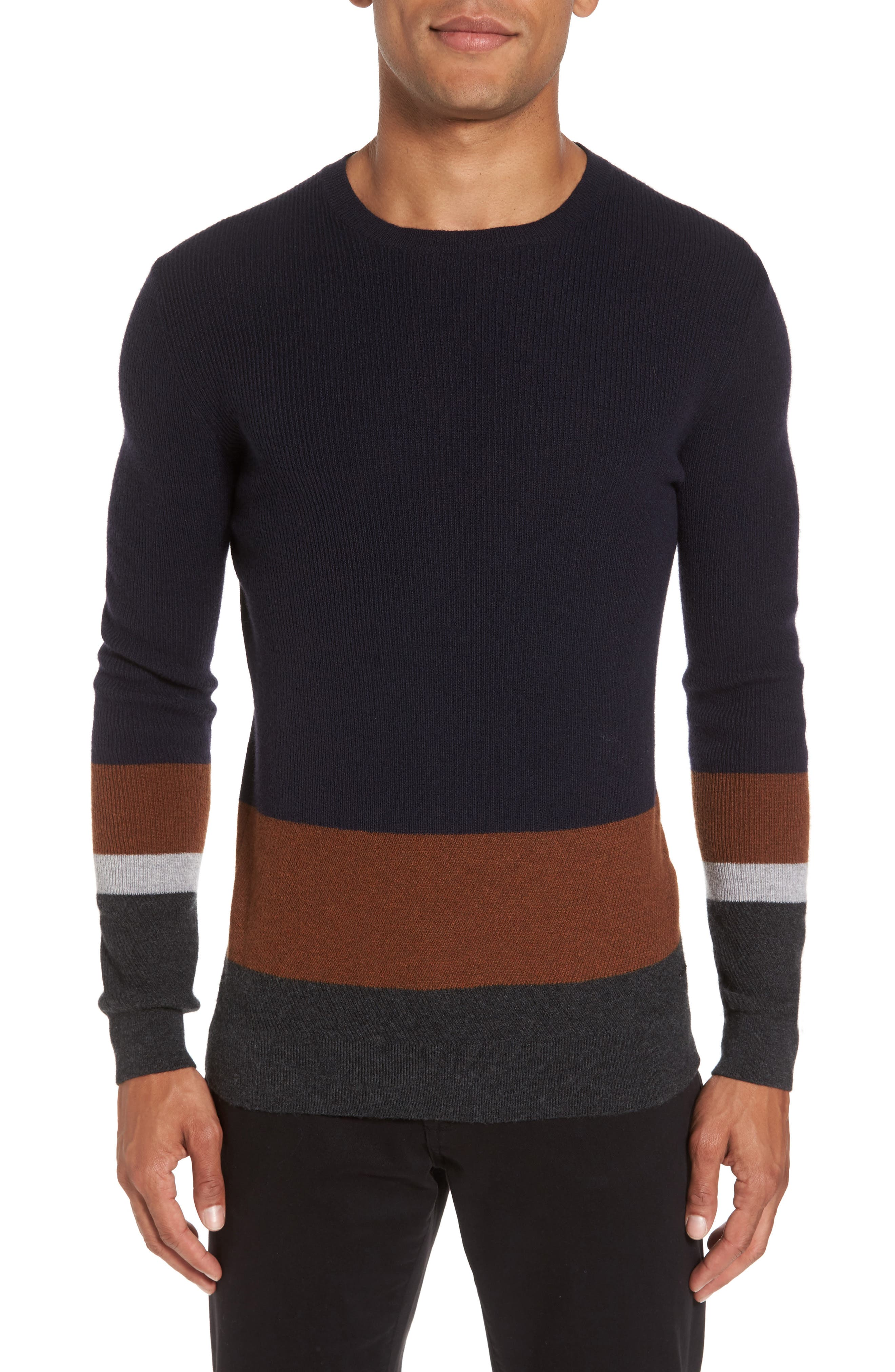 Colorblock Crewneck Sweater,                         Main,                         color, Navy