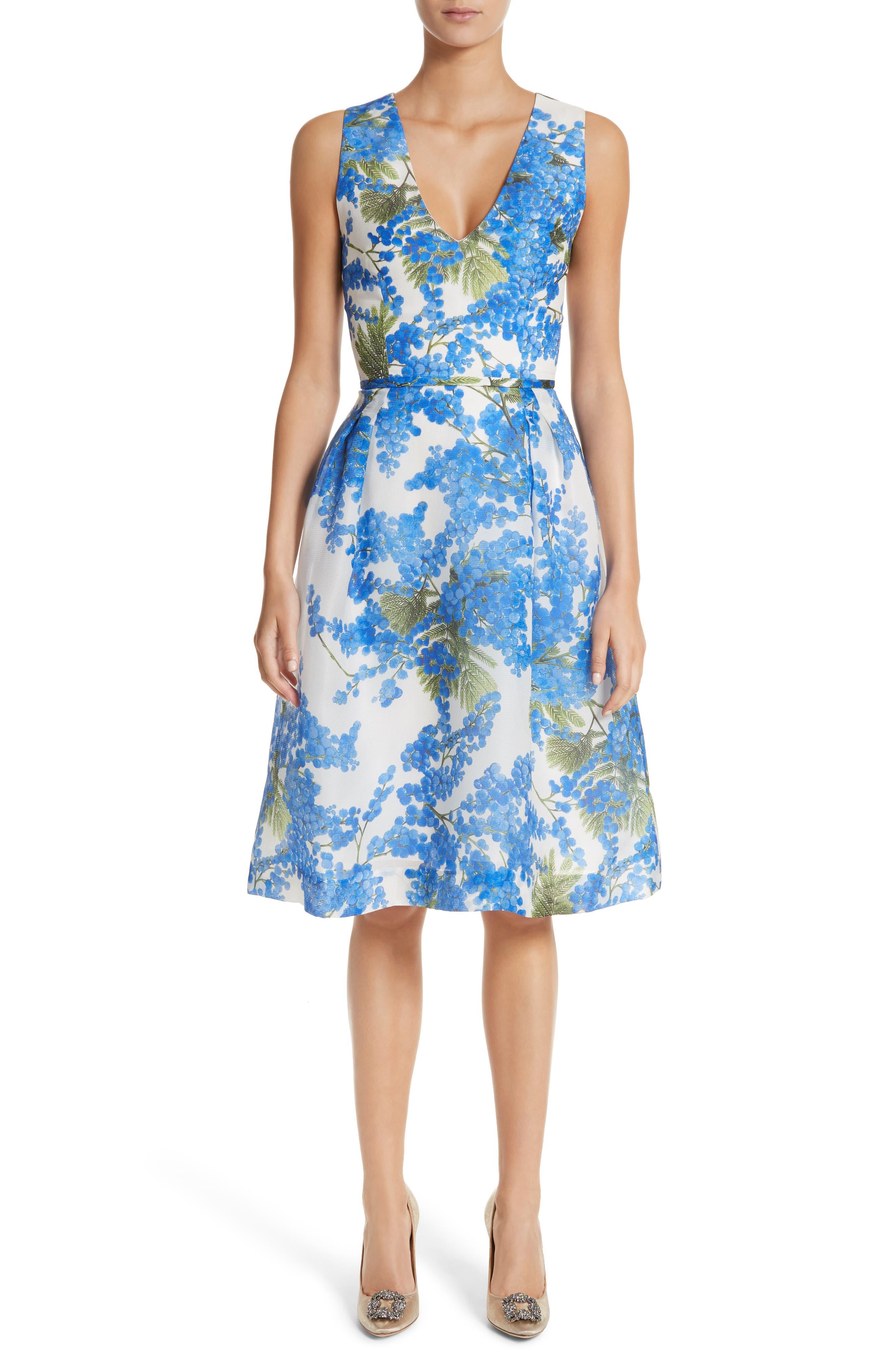 Floral Fit & Flare Dress,                         Main,                         color, Colbalt/White