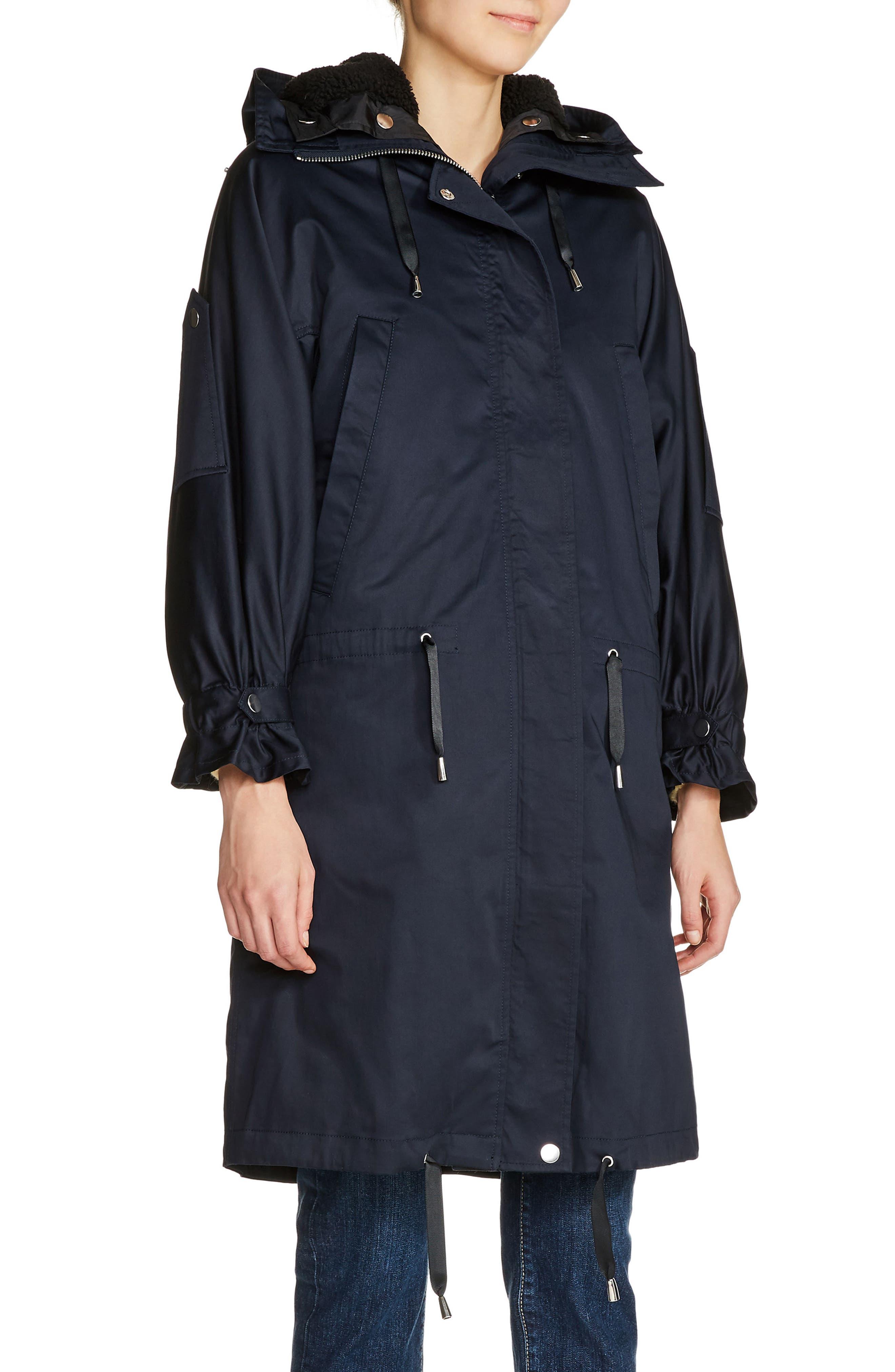 Faux Shearling Lined Long Raincoat,                         Main,                         color, Navy