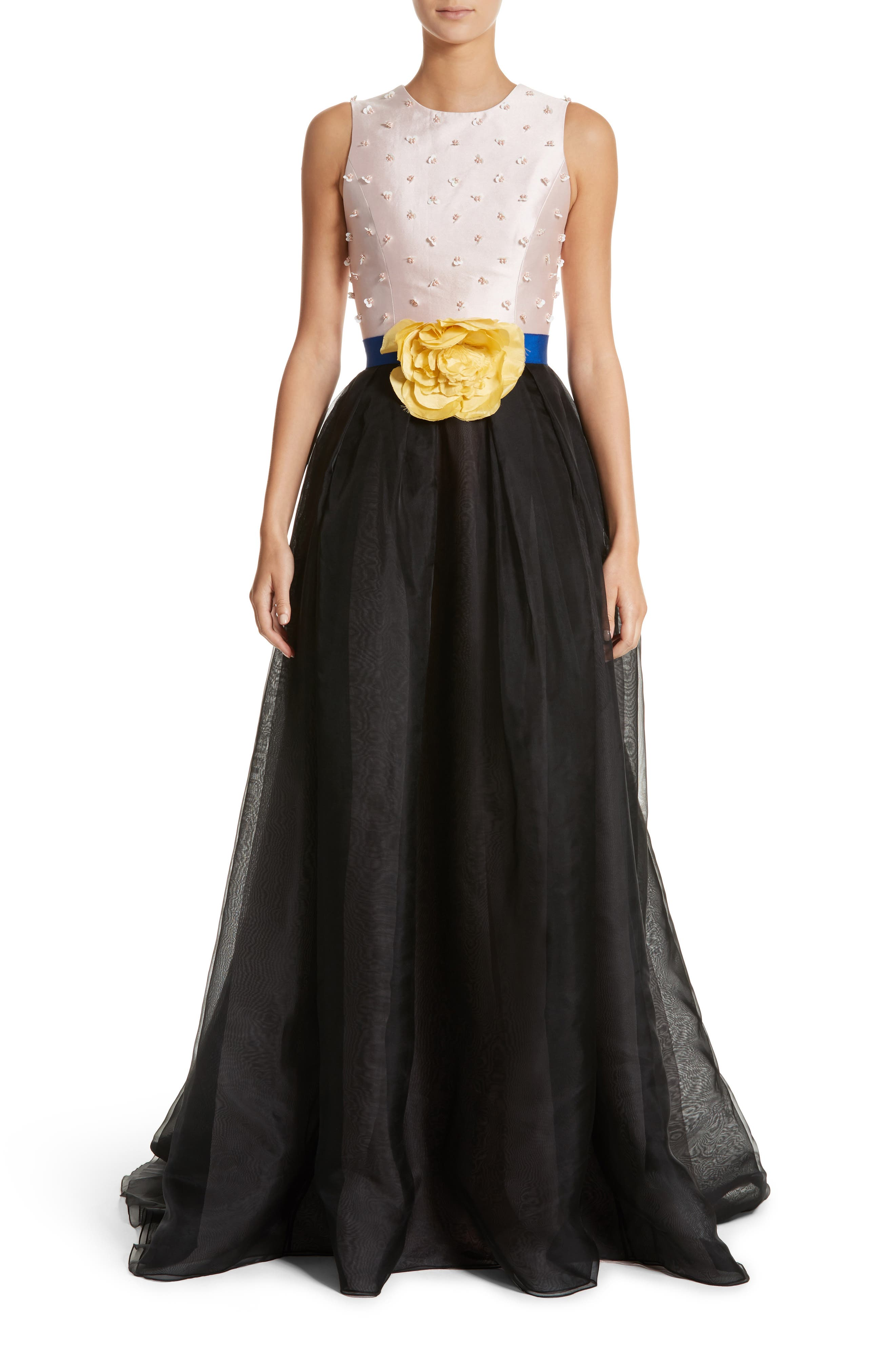 Carolina Herrera Colorblock Embellished Bodice Gown