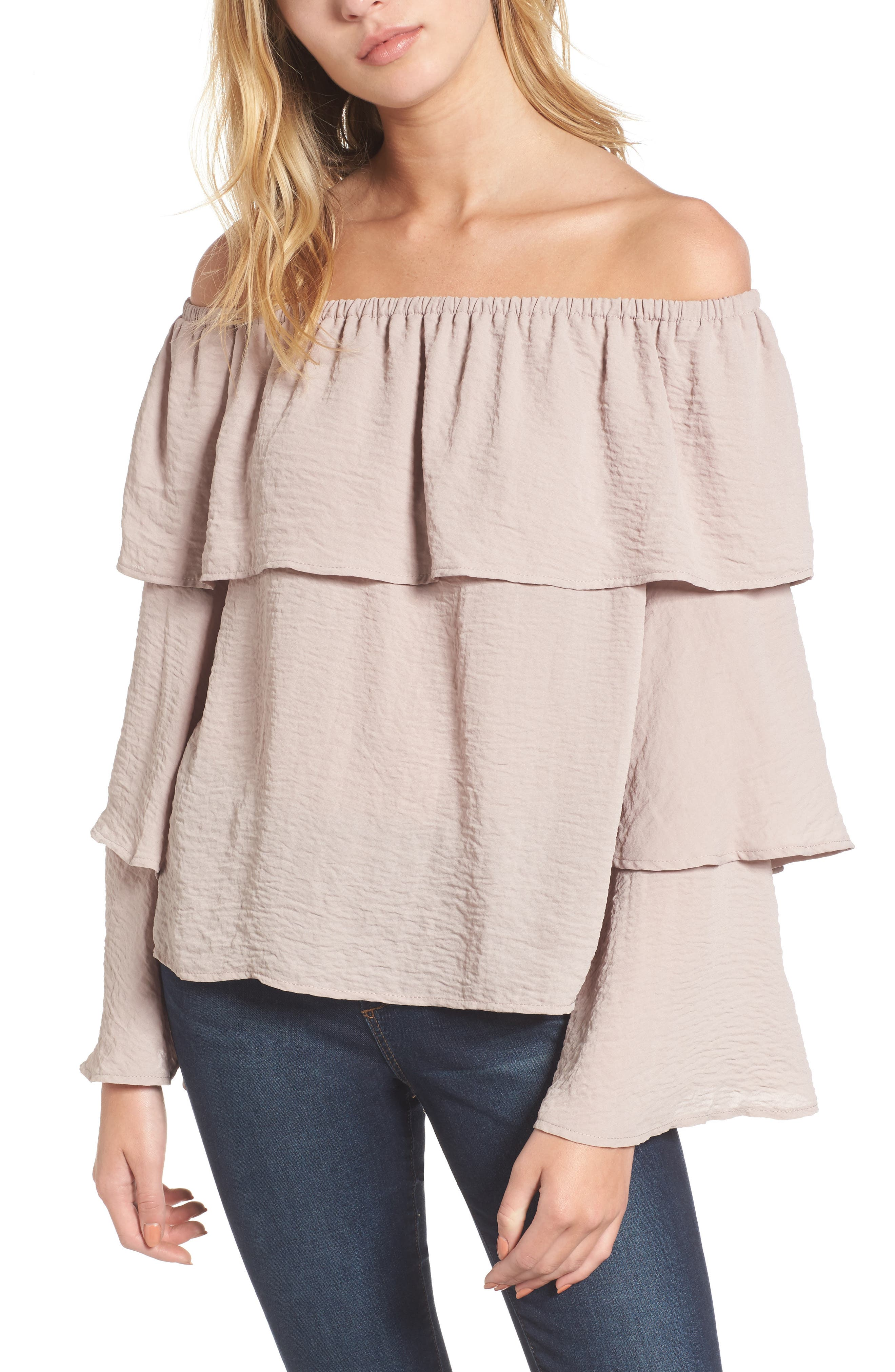 Tiered Ruffle Sleeve Blouse,                         Main,                         color, Mauve