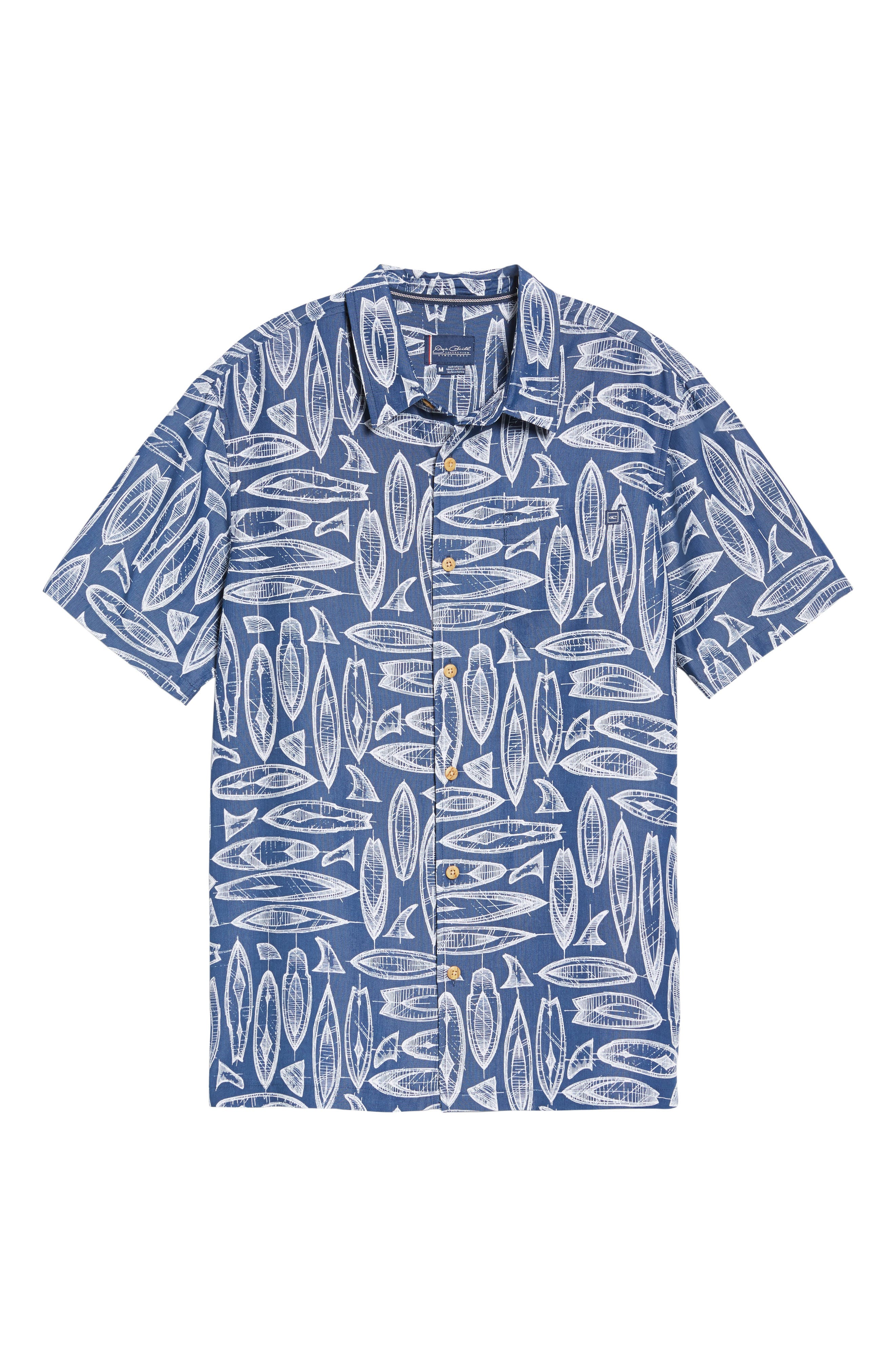 Waveriders Print Camp Shirt,                             Alternate thumbnail 6, color,                             Ocean