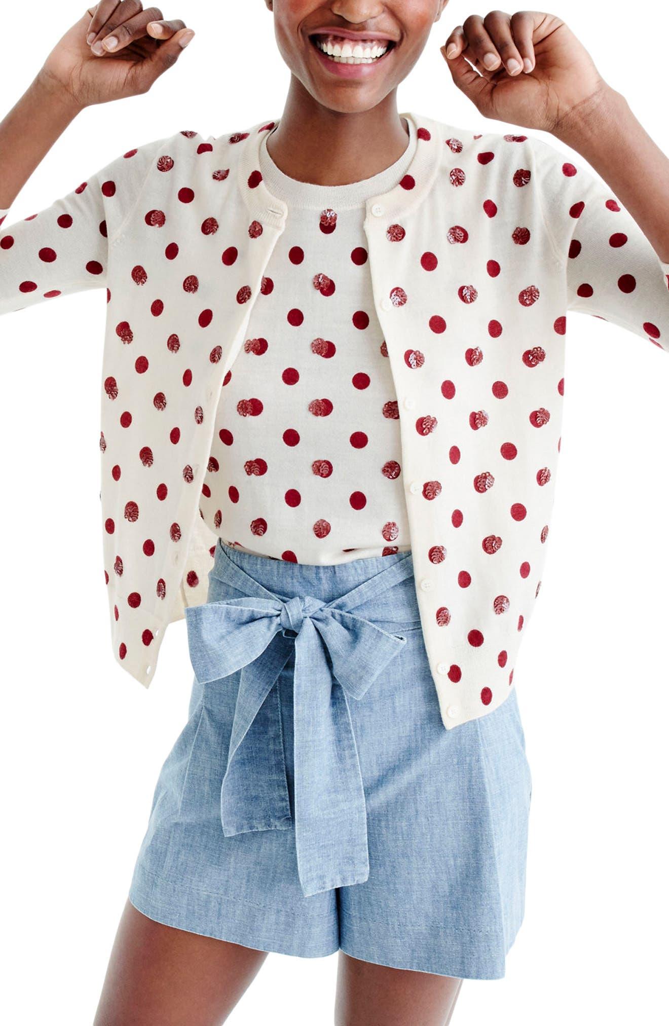 Sequin Polka Dot Cardigan,                             Main thumbnail 1, color,                             Dusty Ruby