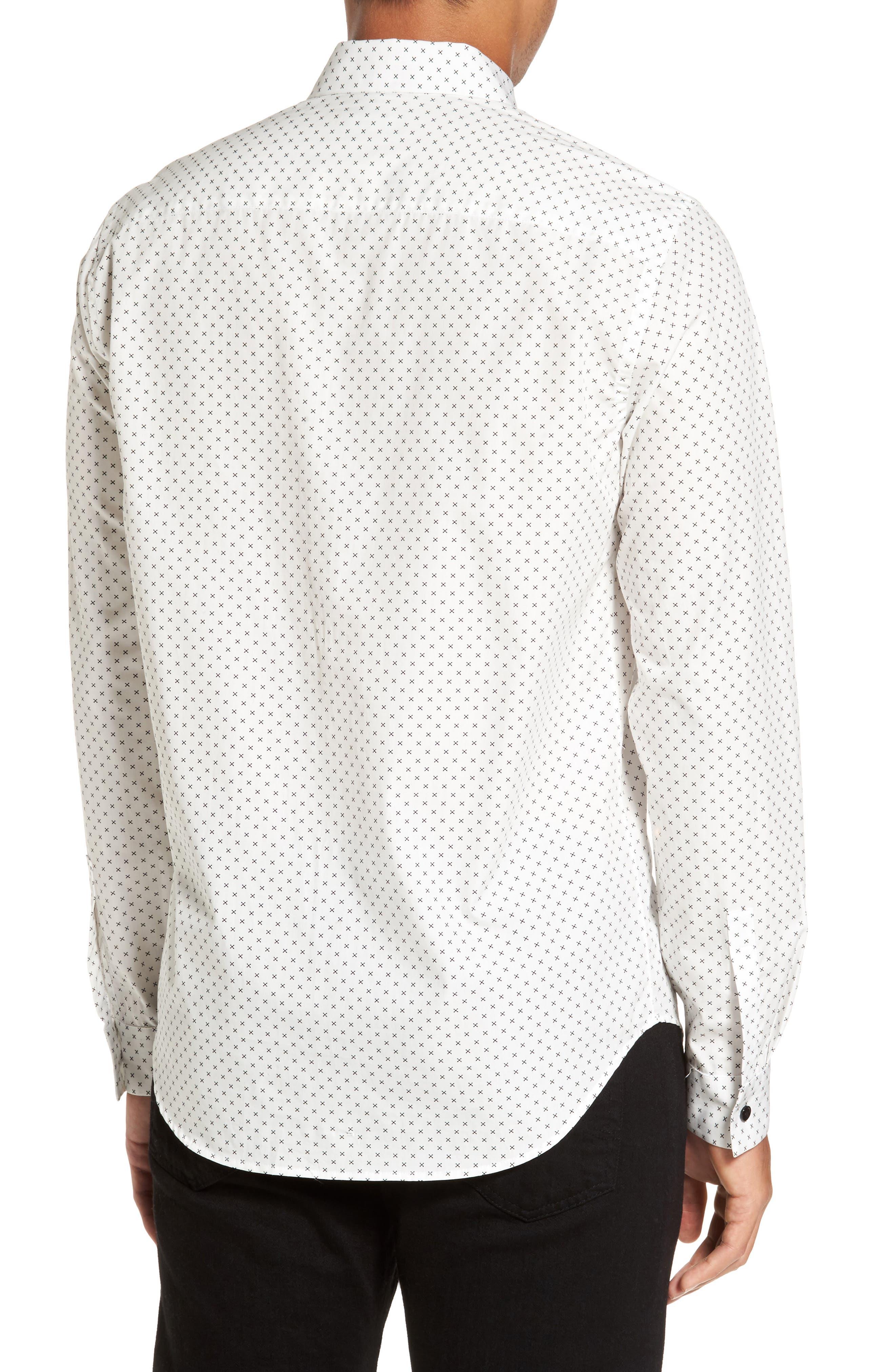 Stitch Print Sport Shirt,                             Alternate thumbnail 2, color,                             Ivory Multi