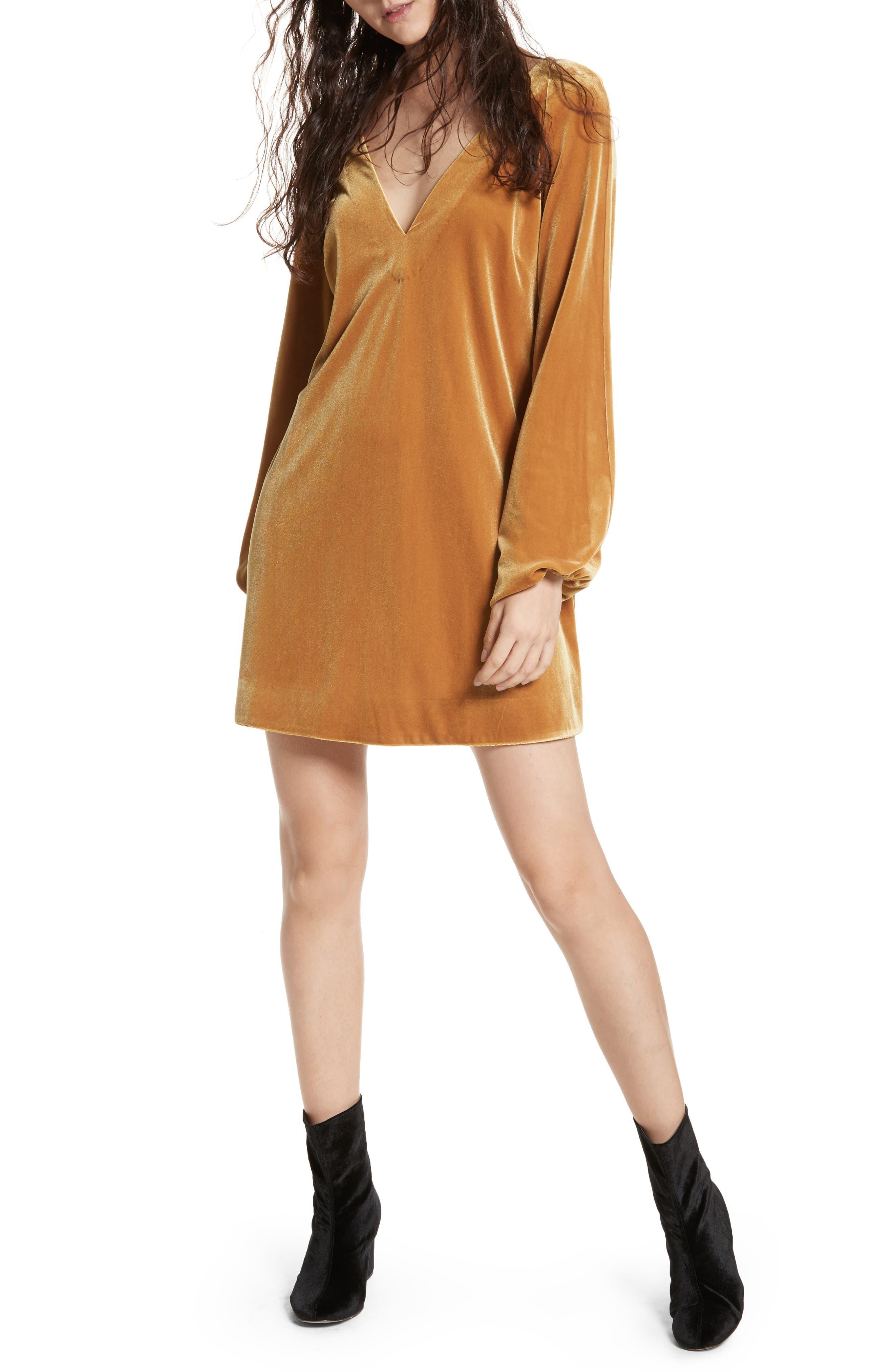 Misha Velvet Minidress,                             Main thumbnail 1, color,                             Gold