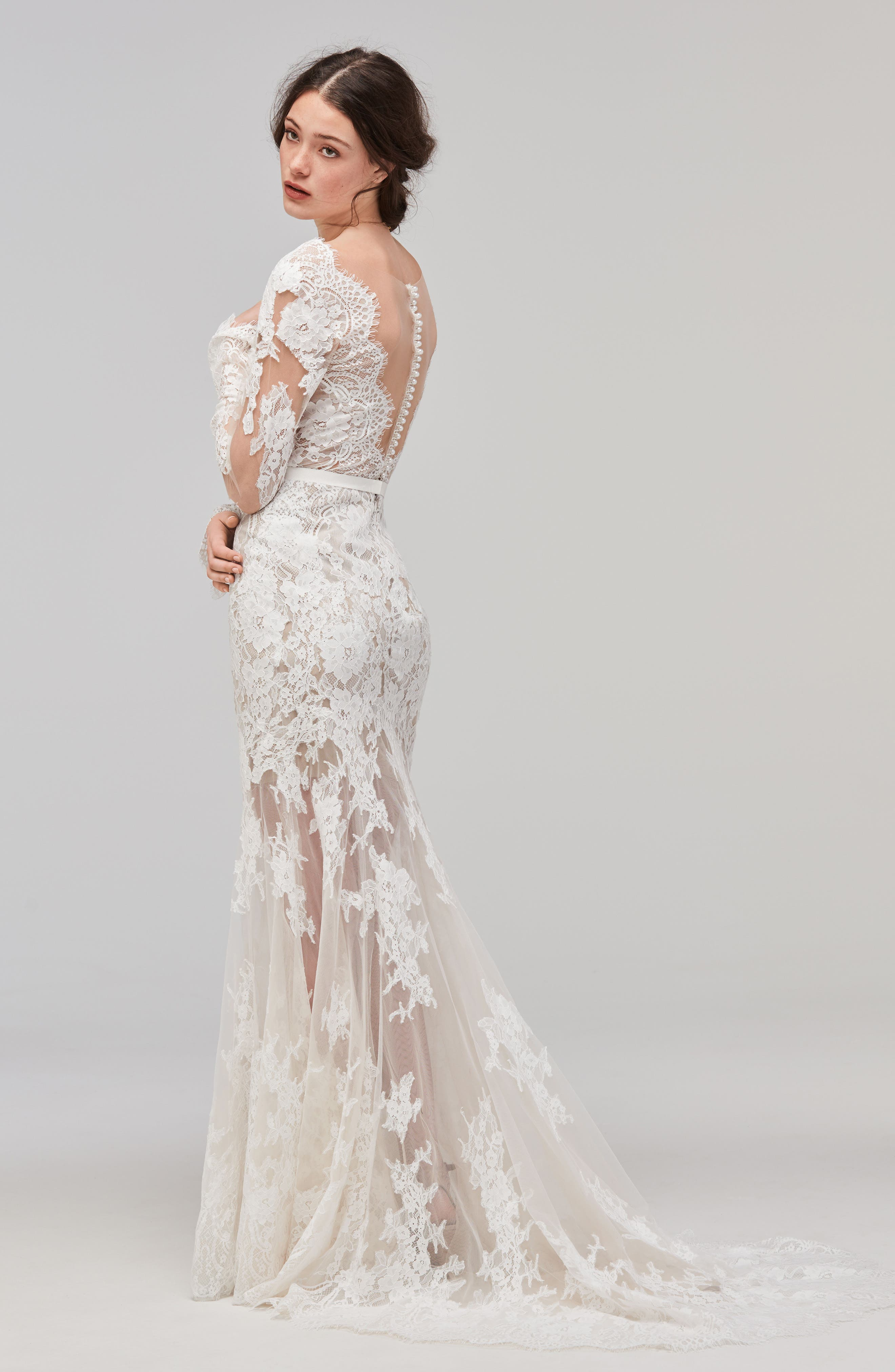 Alternate Image 2  - Willowby Sage Alençon Lace Trumpet Gown