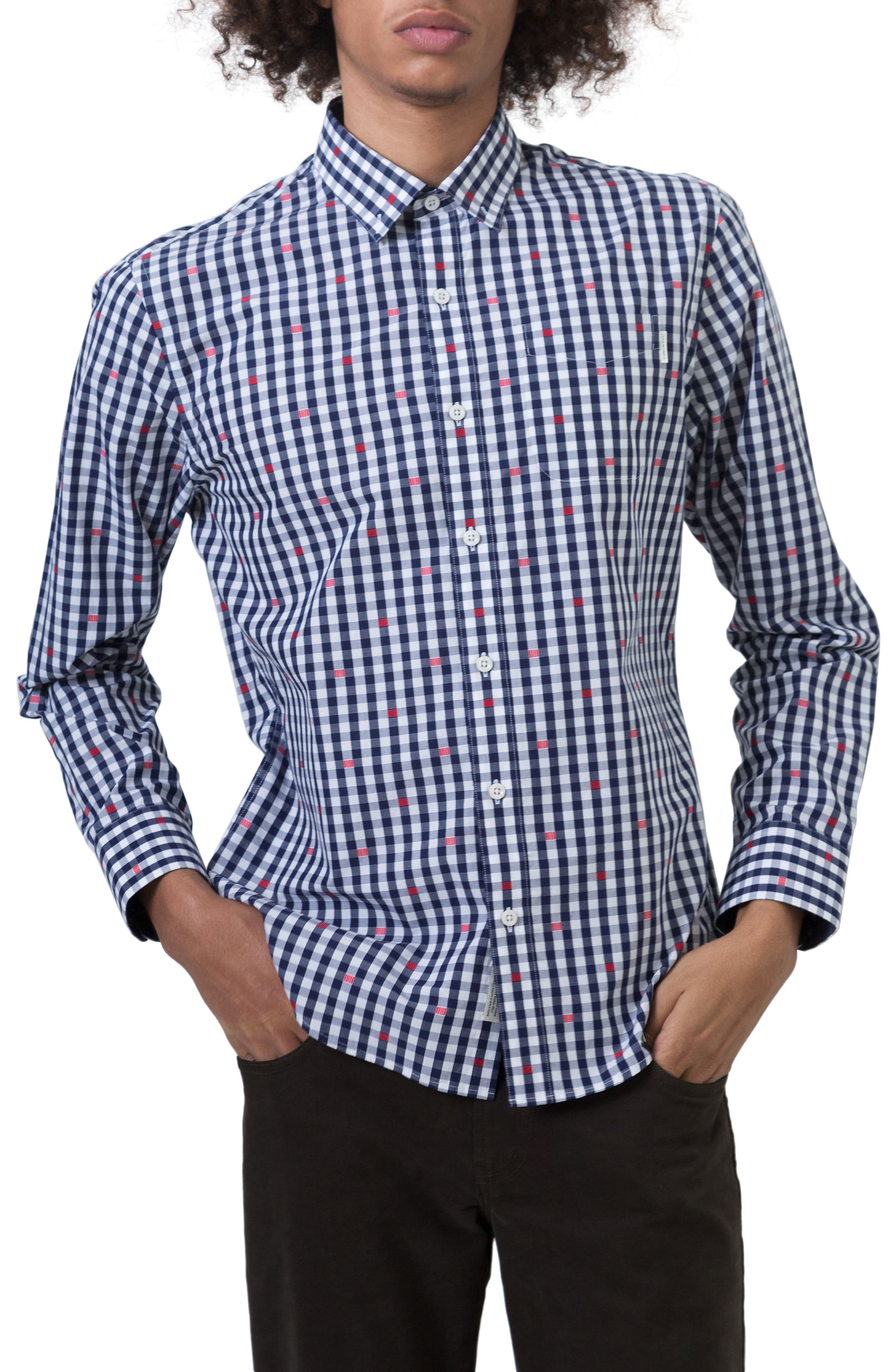 Petrichor Woven Shirt,                             Main thumbnail 1, color,                             Navy