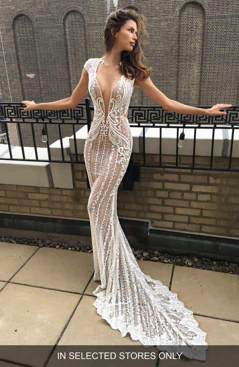 Berta Cap Sleeve Embellished Lace Mermaid Gown