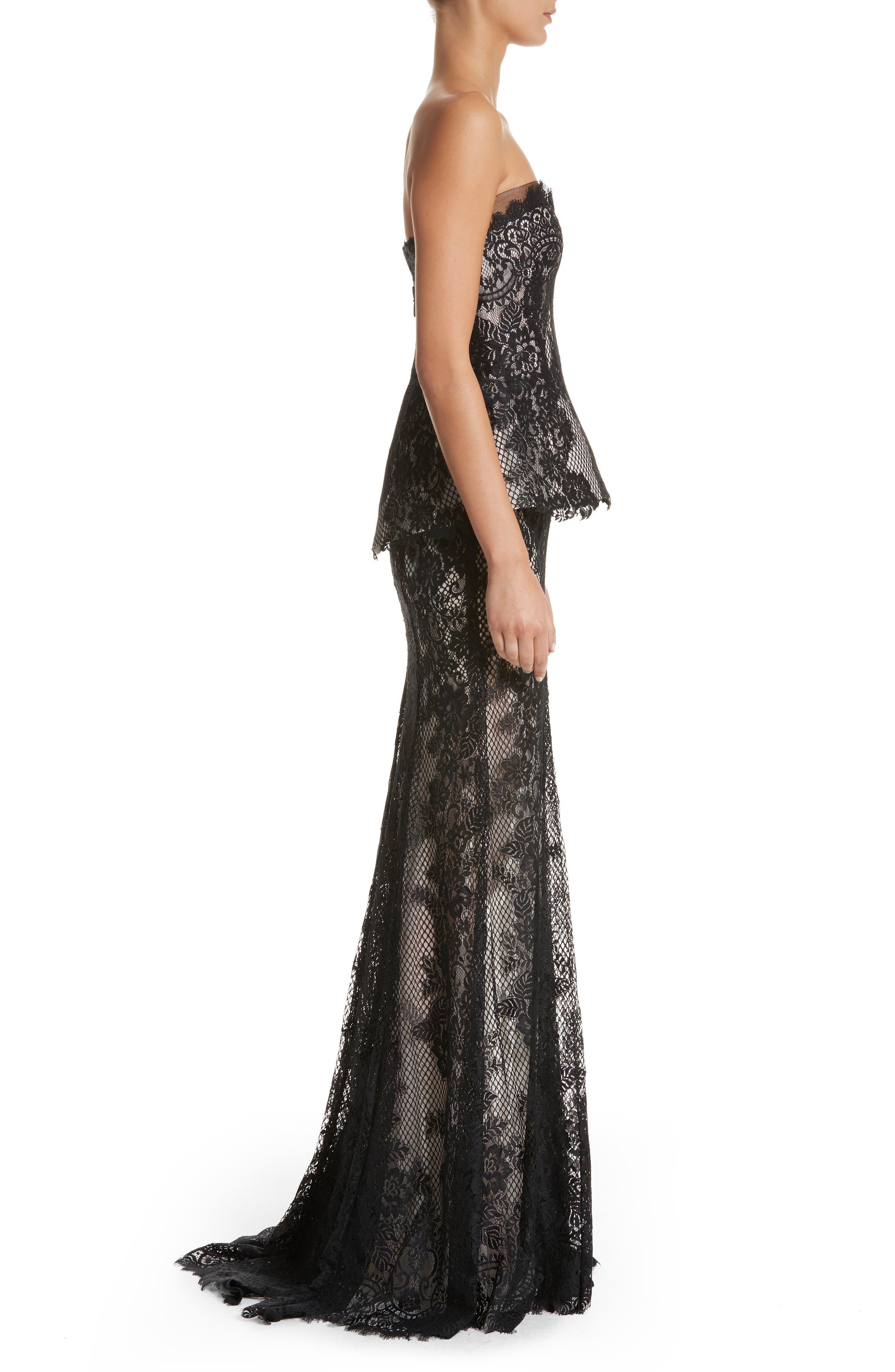 Alternate Image 3  - Monique Lhuillier Strapless Peplum Lace Gown