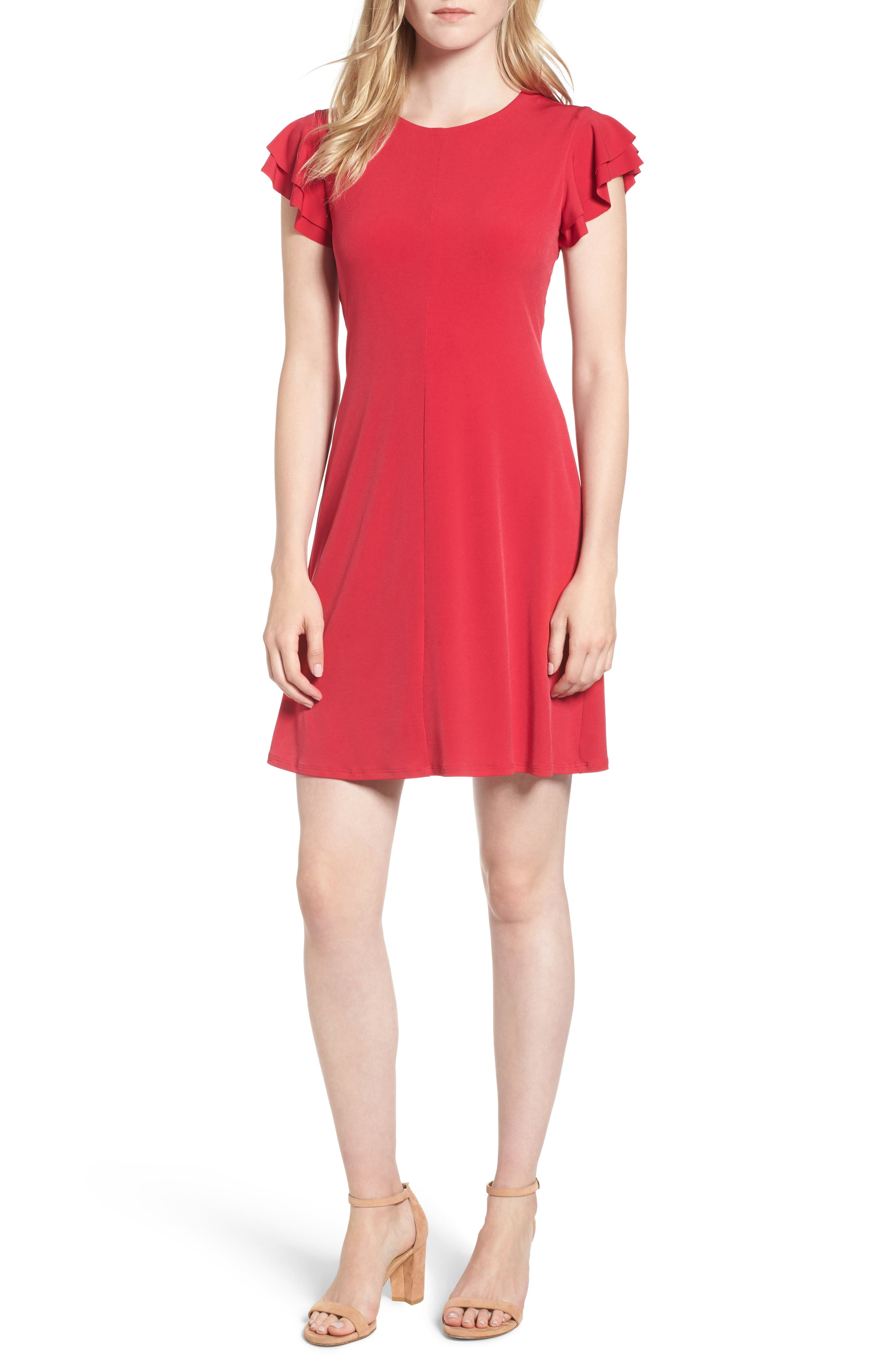 Flutter Sleeve Stretch Jersey Dress,                         Main,                         color, Berry