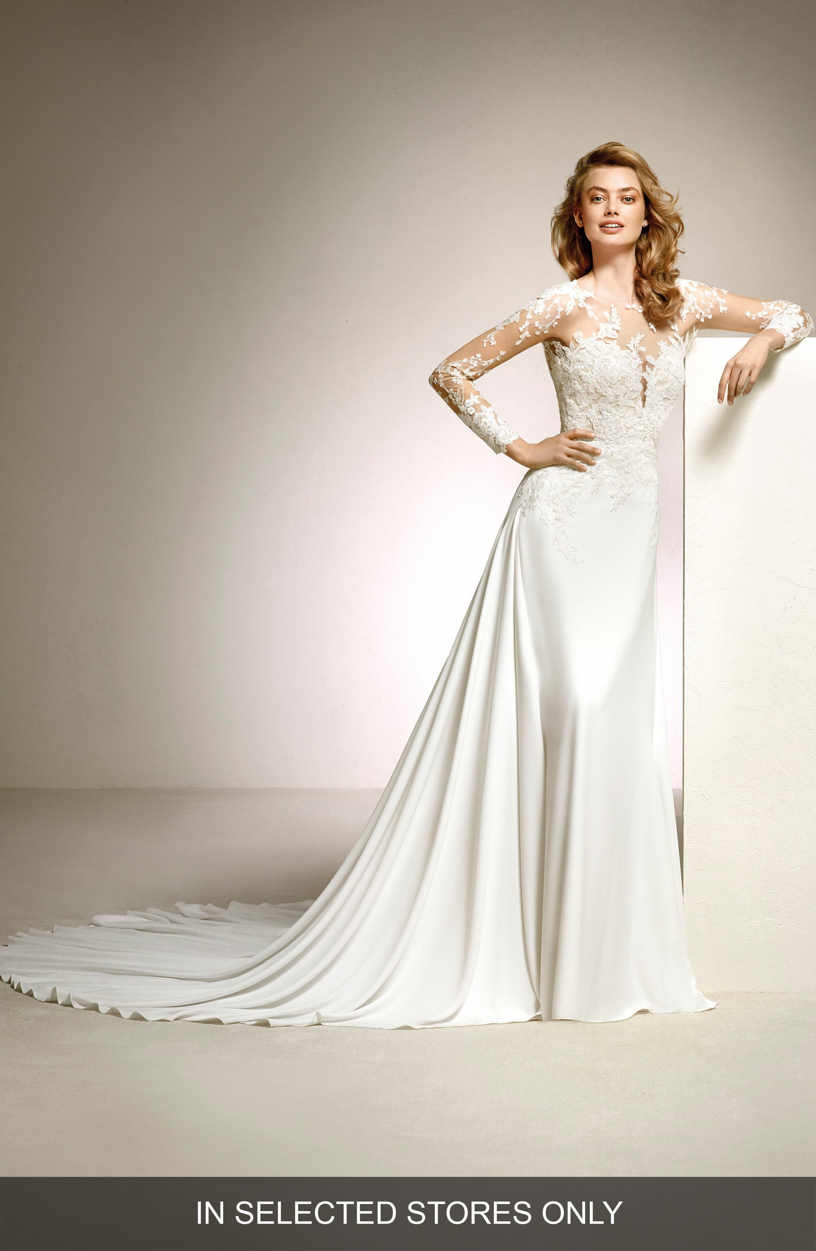 Main Image - Pronovias Dacil Lace Illusion Yoke & Sleeve A-Line Gown
