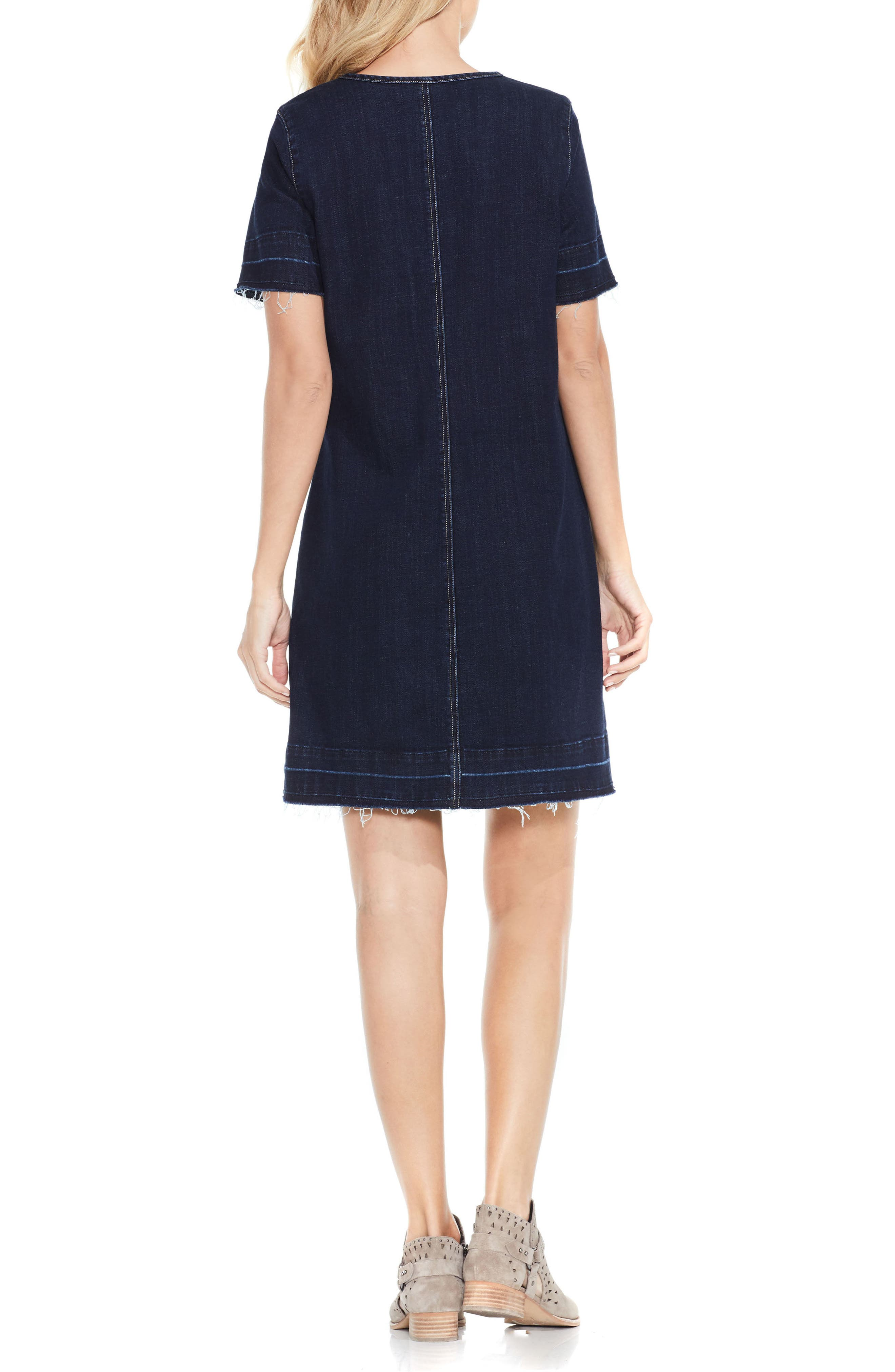 Alternate Image 2  - Vince Camuto Release Hem Denim Dress