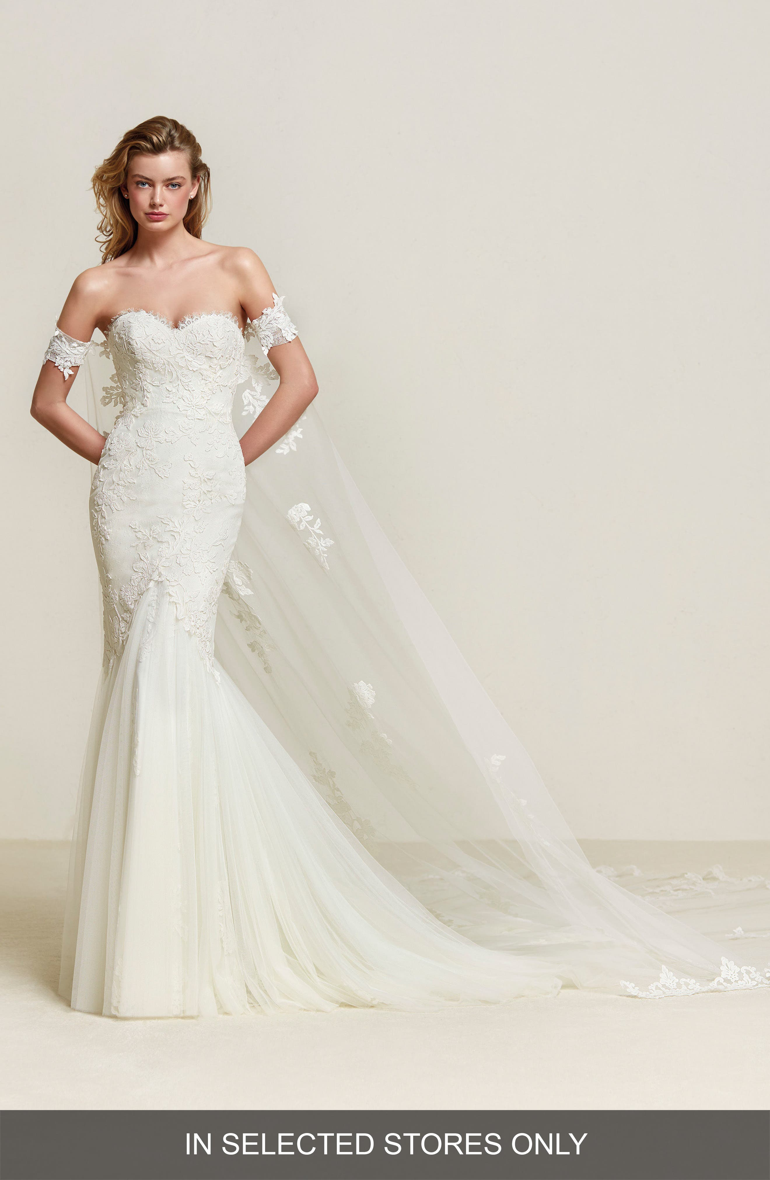 Pronovias Drimea Strapless Mermaid Gown with Tulle Cape