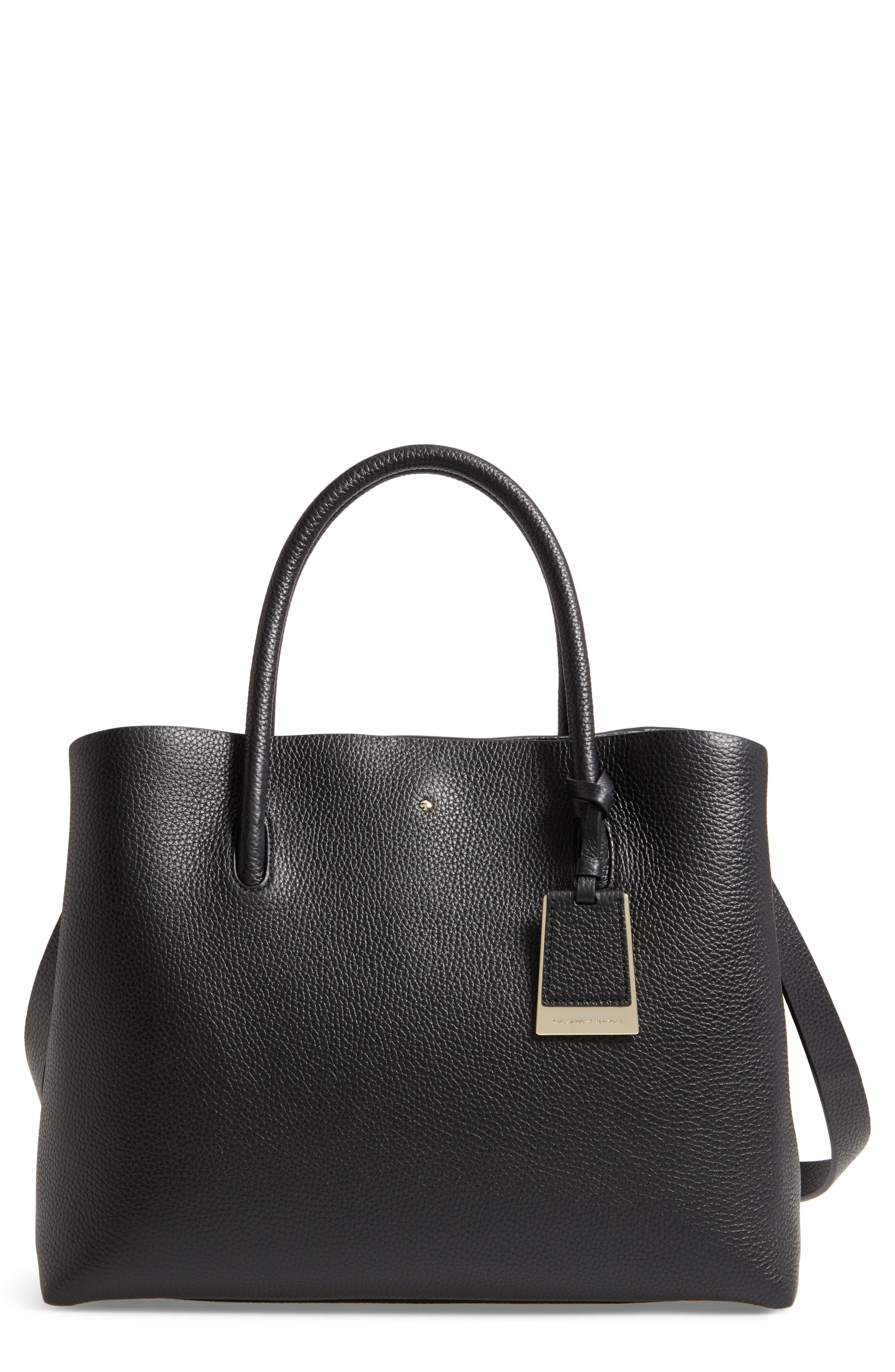 large madison knollwood drive - celestina leather satchel,                             Main thumbnail 1, color,                             Black