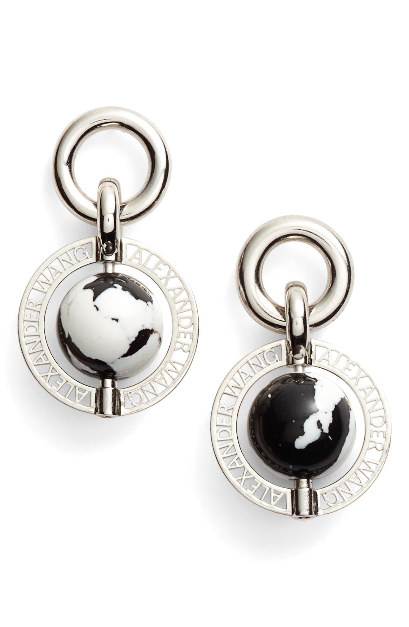 Globe Drop Earrings,                         Main,                         color, Silver