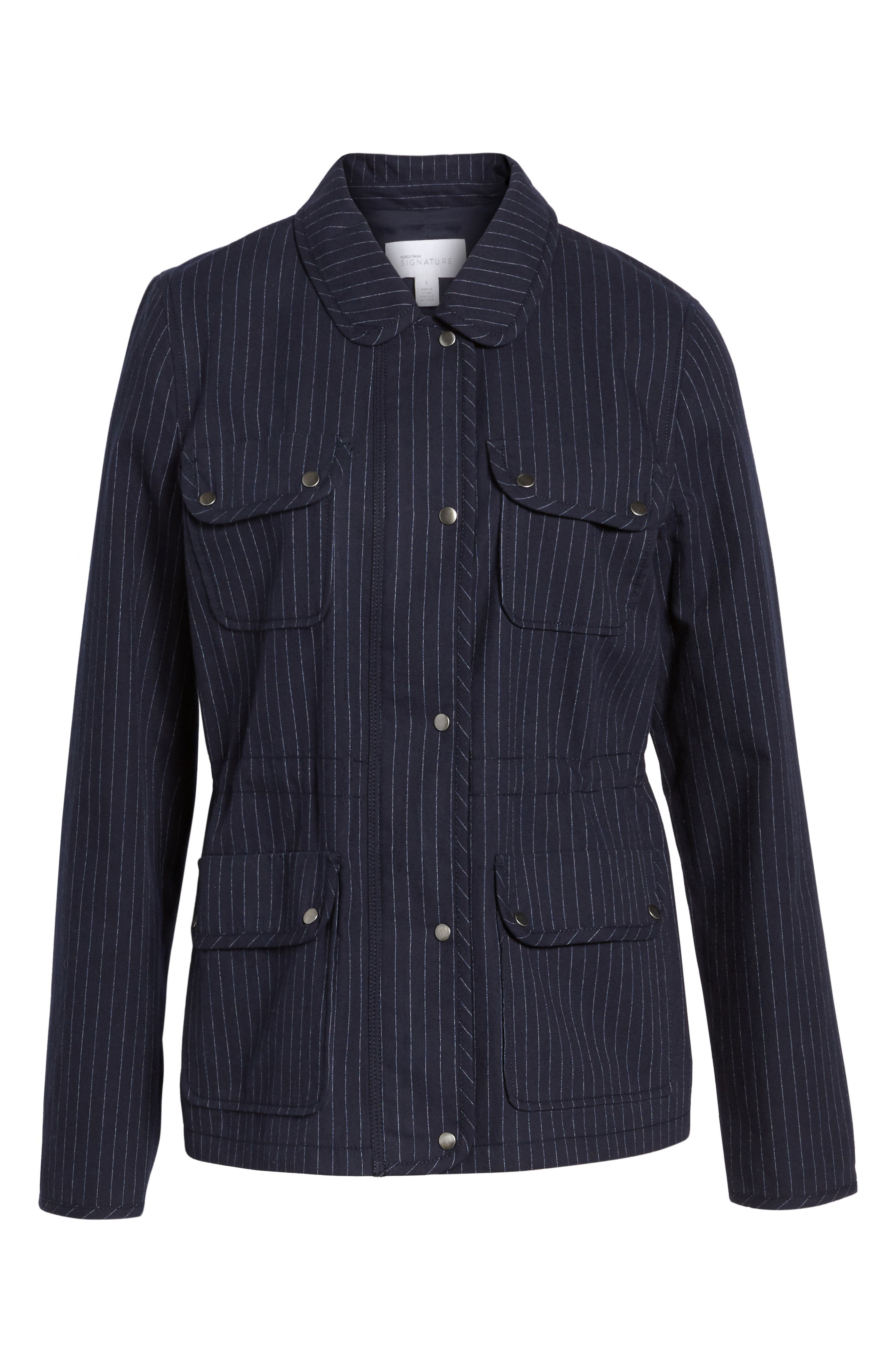 Pinstripe Utility Jacket,                             Alternate thumbnail 6, color,                             Navy- Ivory Pinstripe