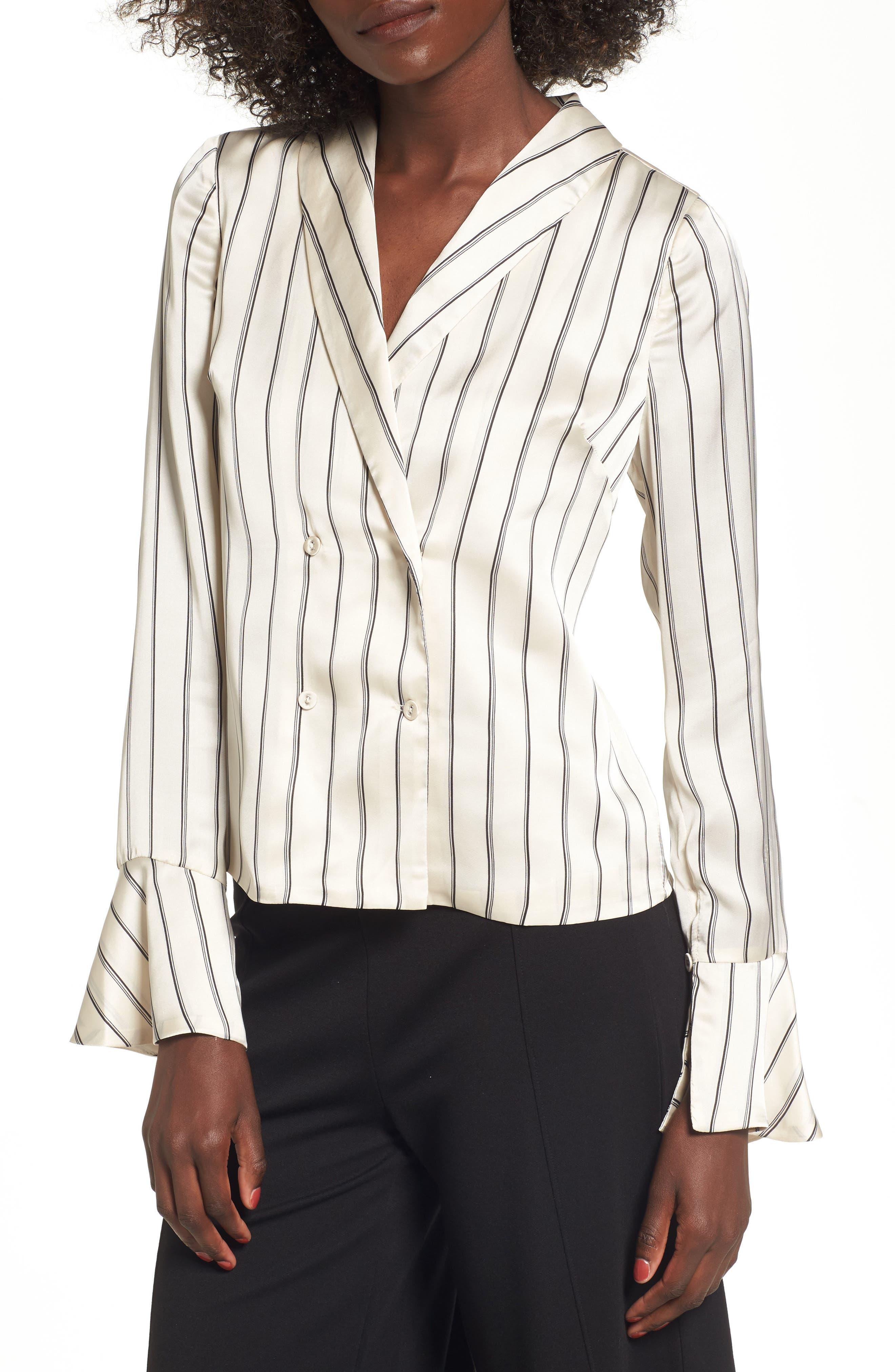 Stripe Satin Blouse,                         Main,                         color, Cream Multi