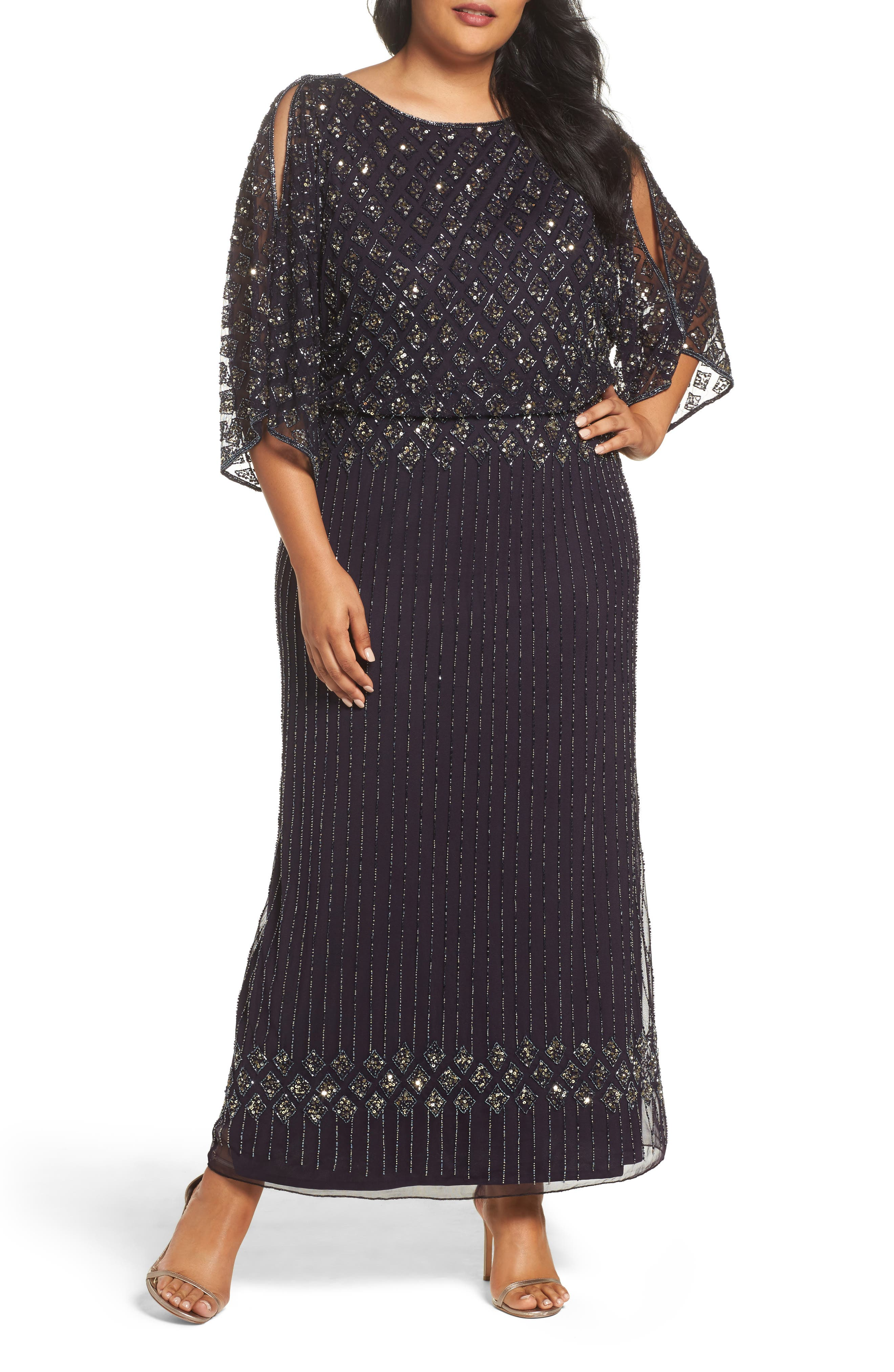 Pisarro Nights Diamond Motif Mesh Blouson Gown (Plus Size)