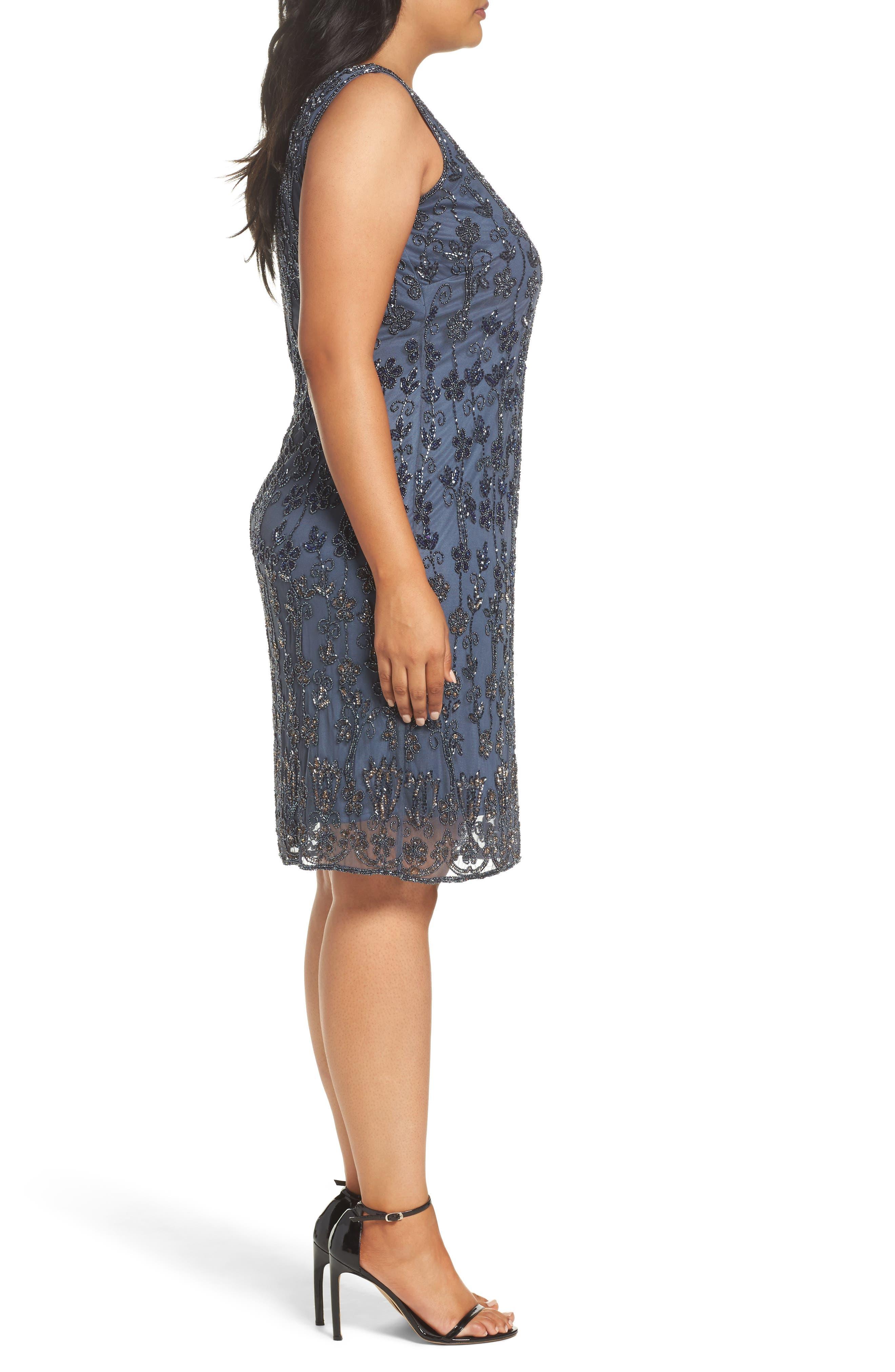 Embellished Mesh Sheath Dress,                             Alternate thumbnail 3, color,                             New Grey