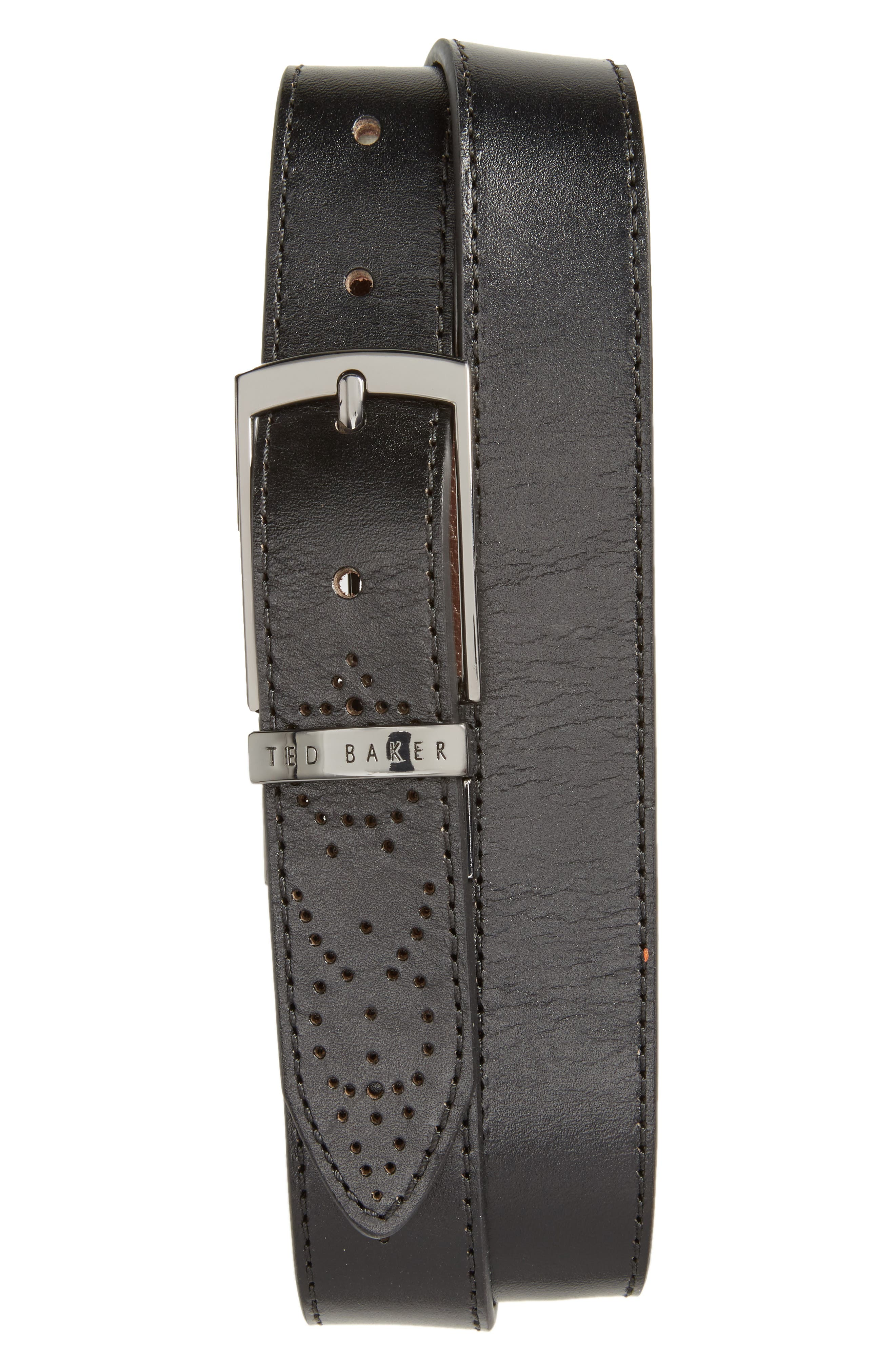 Boxwood Leather Belt,                             Main thumbnail 1, color,                             Black/Brown