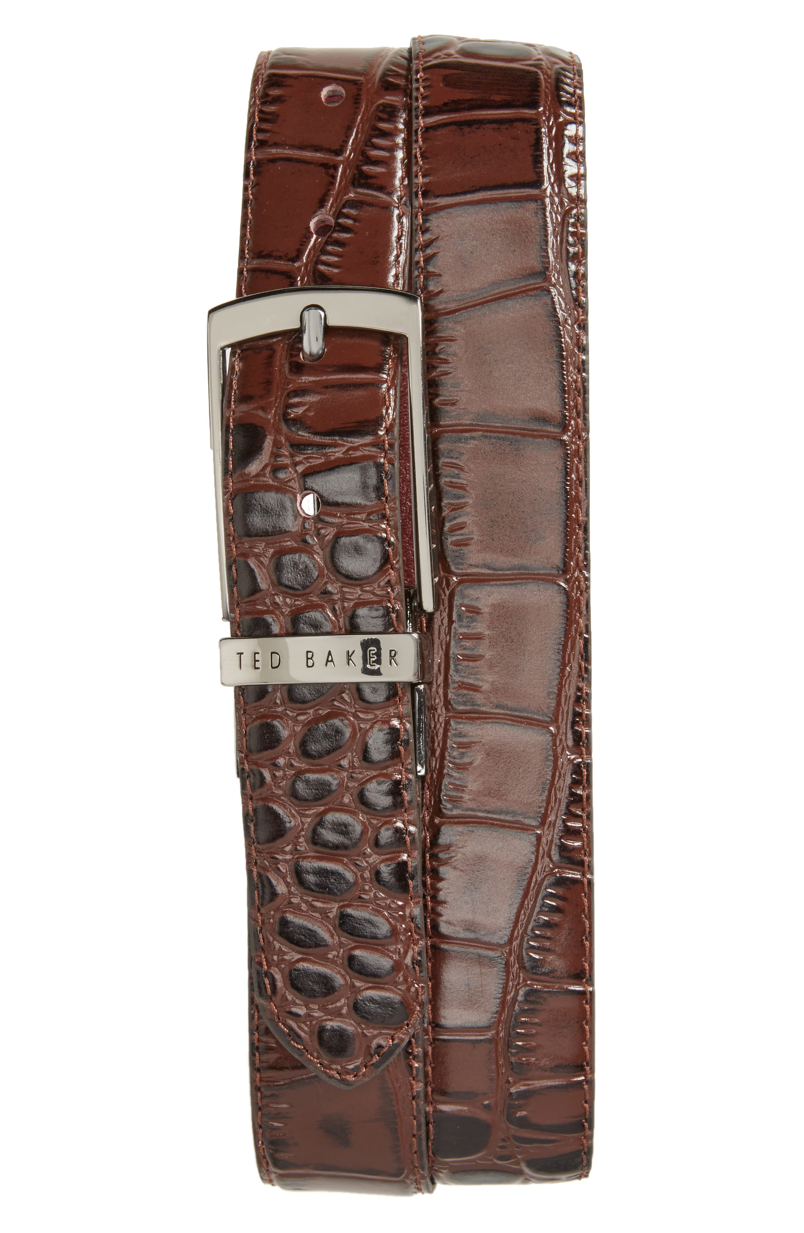 Sunflow Reversible Leather Belt,                         Main,                         color, Chocolate/Burgundy